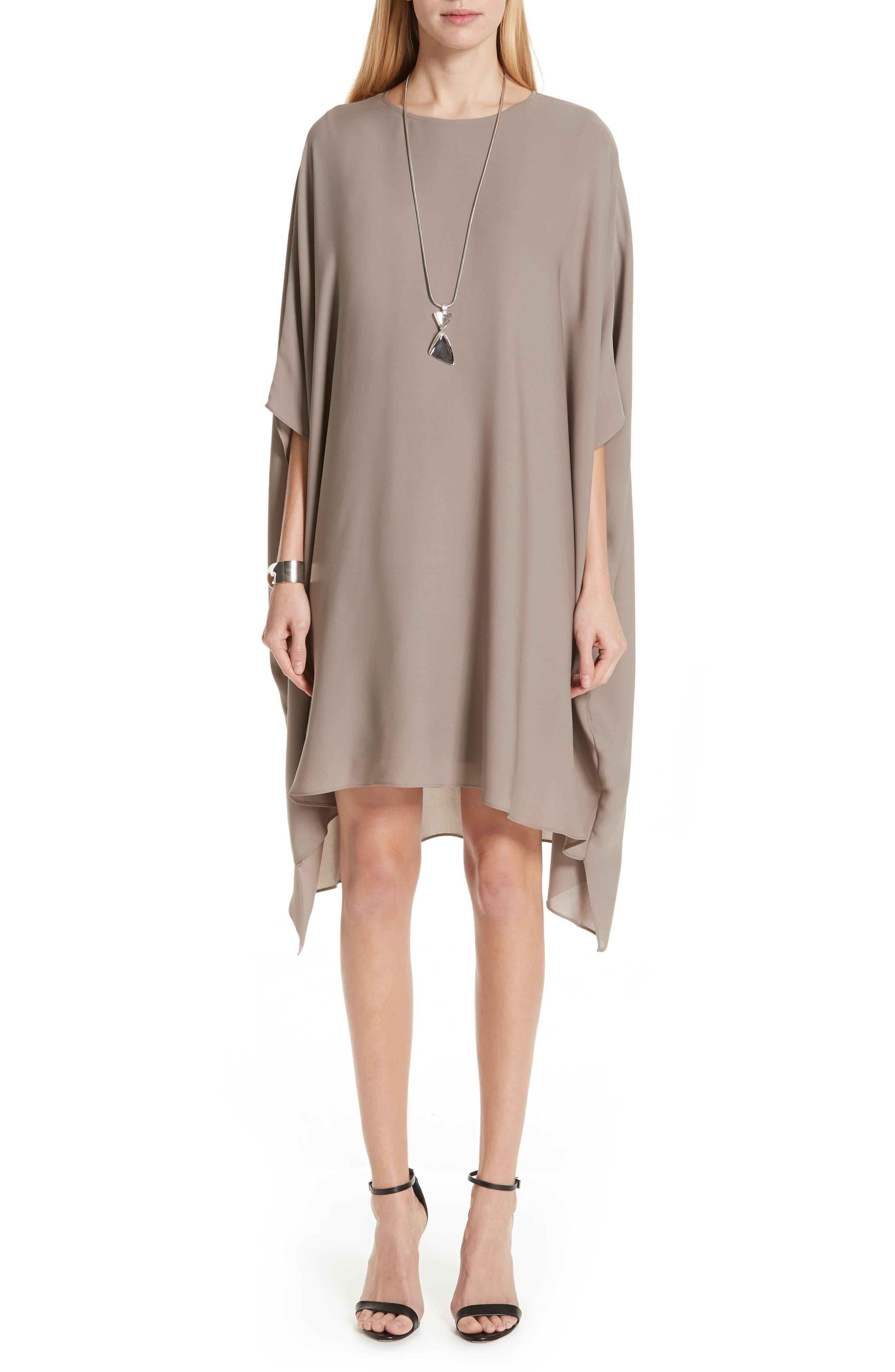 St. John Collection Draped Satin Silk Georgette Dress, Size Petite - Grey