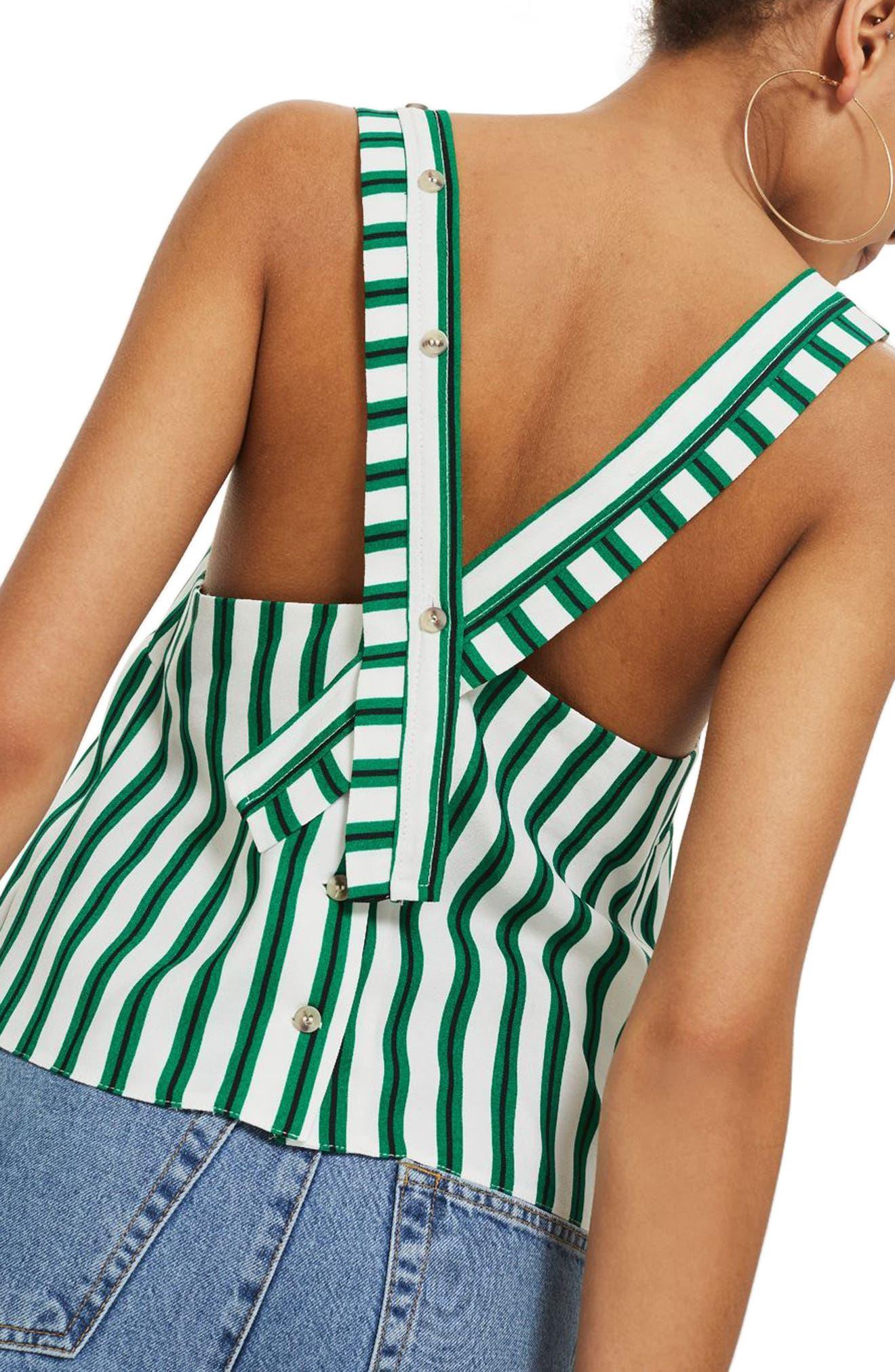 Stripe Button Camisole,                             Alternate thumbnail 2, color,                             300