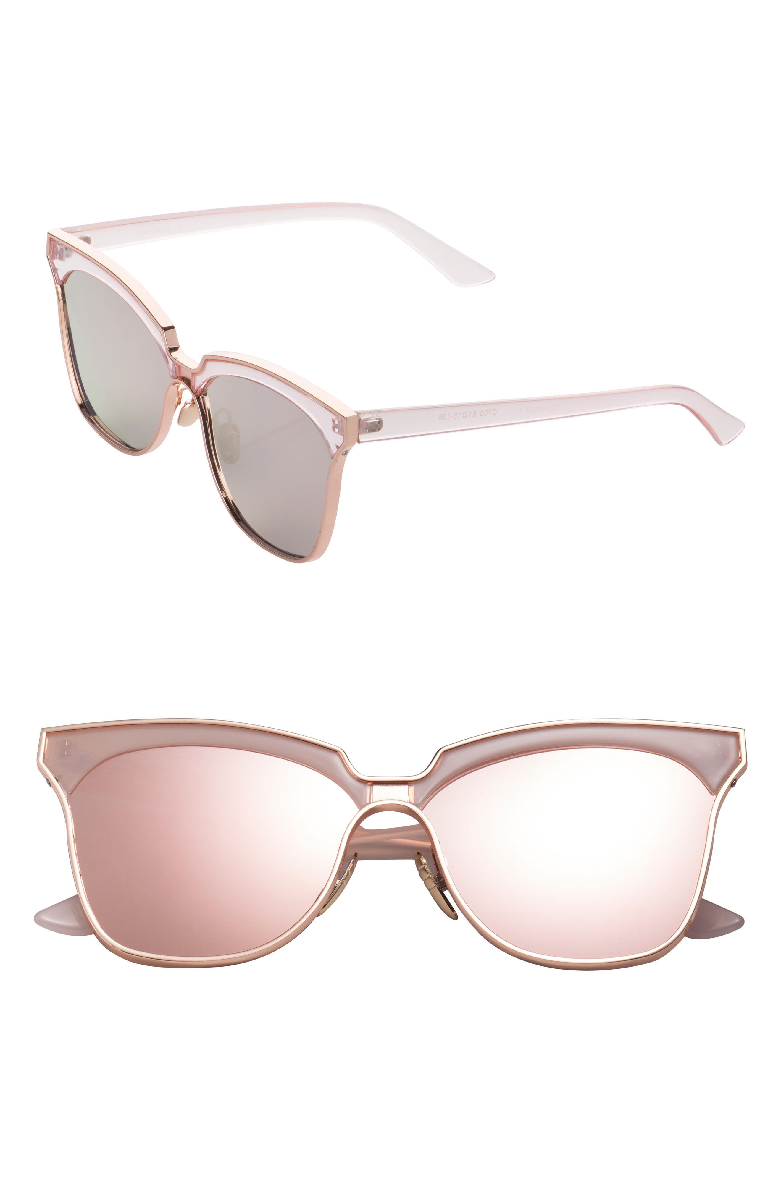 61mm Mirorred Butterfly Sunglasses,                             Main thumbnail 1, color,                             650