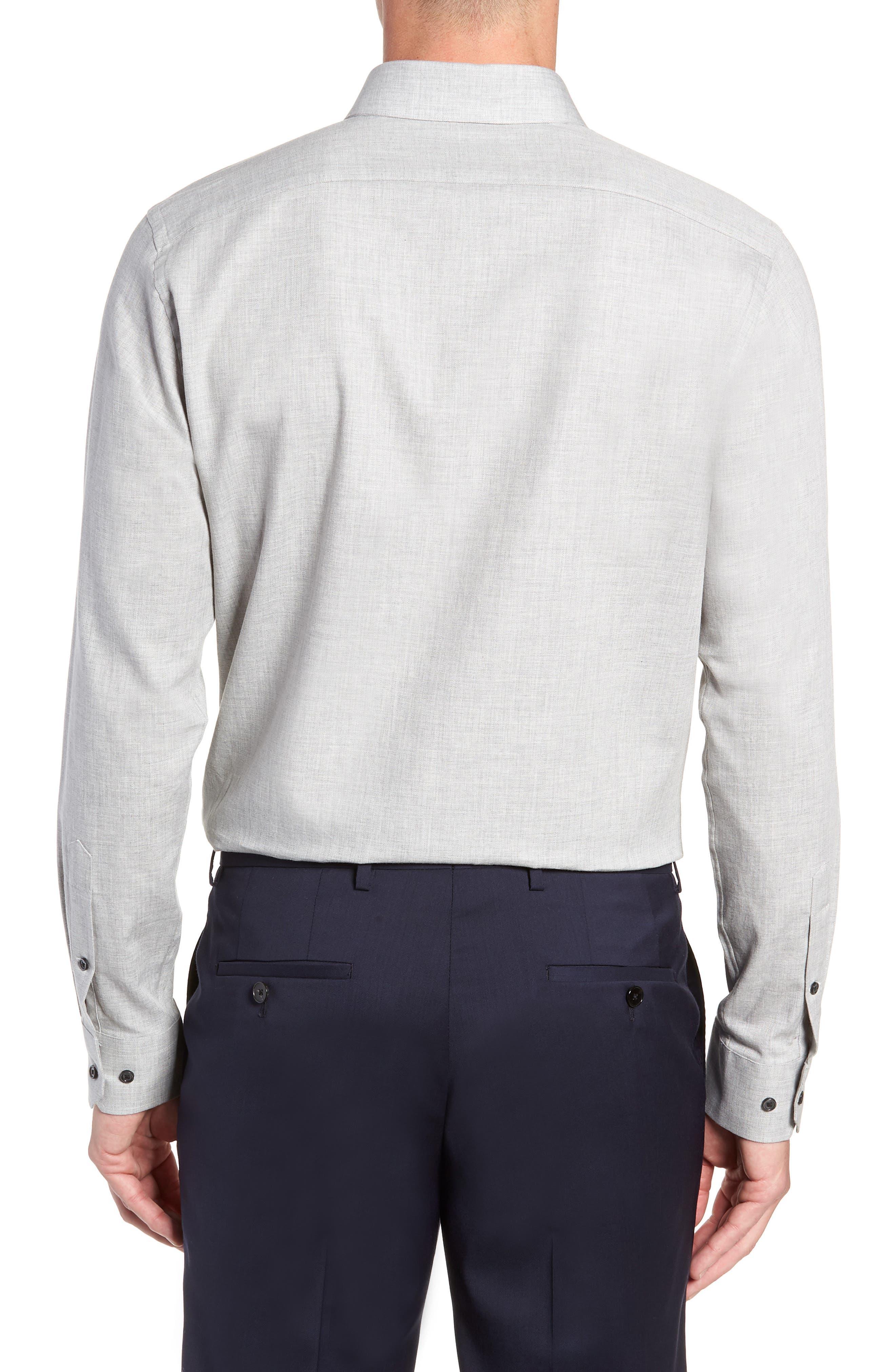 Trim Fit Herringbone Dress Shirt,                             Alternate thumbnail 3, color,                             GREY MICRO