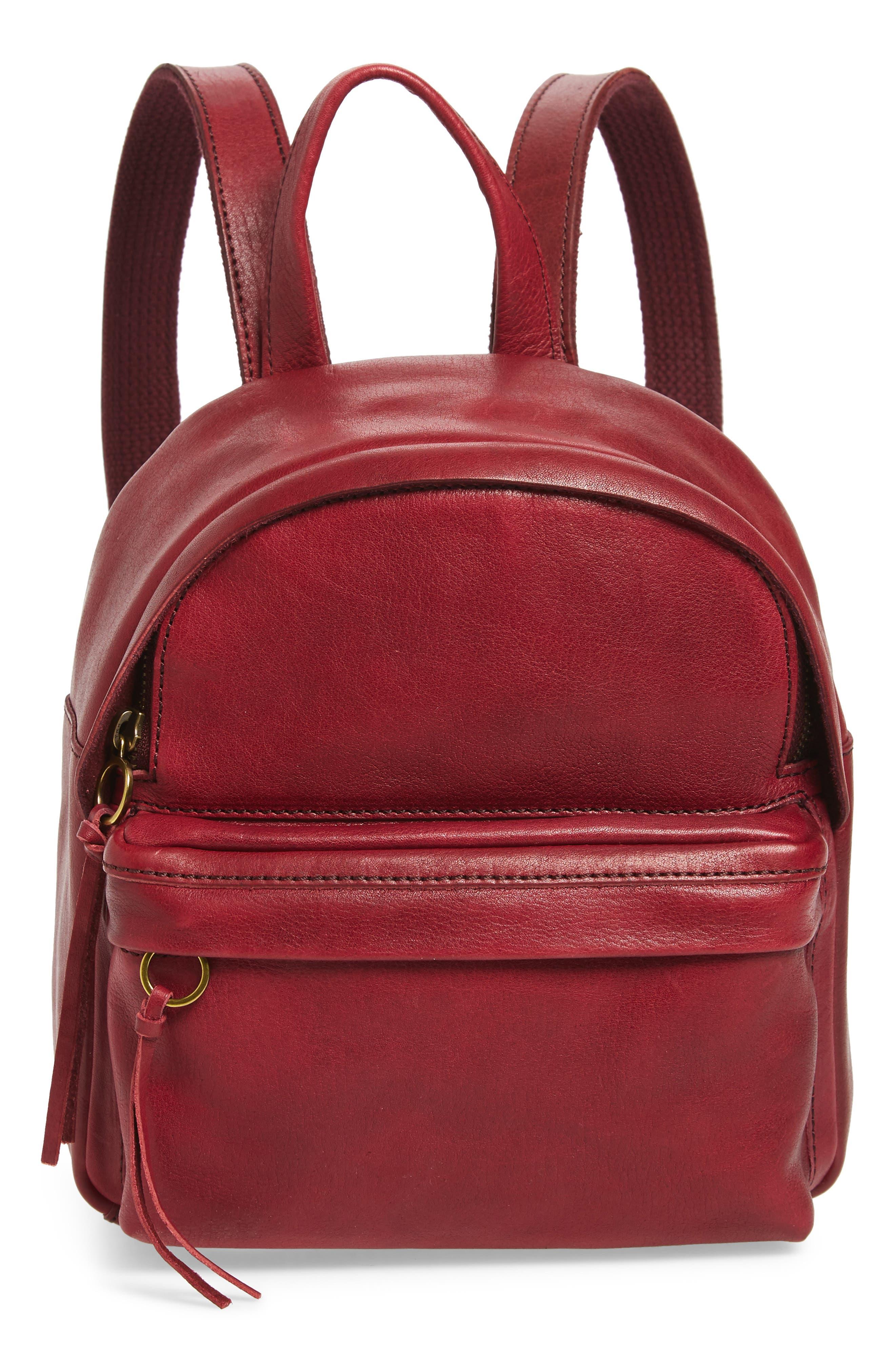 Mini Lorimer Leather Backpack,                             Main thumbnail 1, color,                             DARK CABERNET