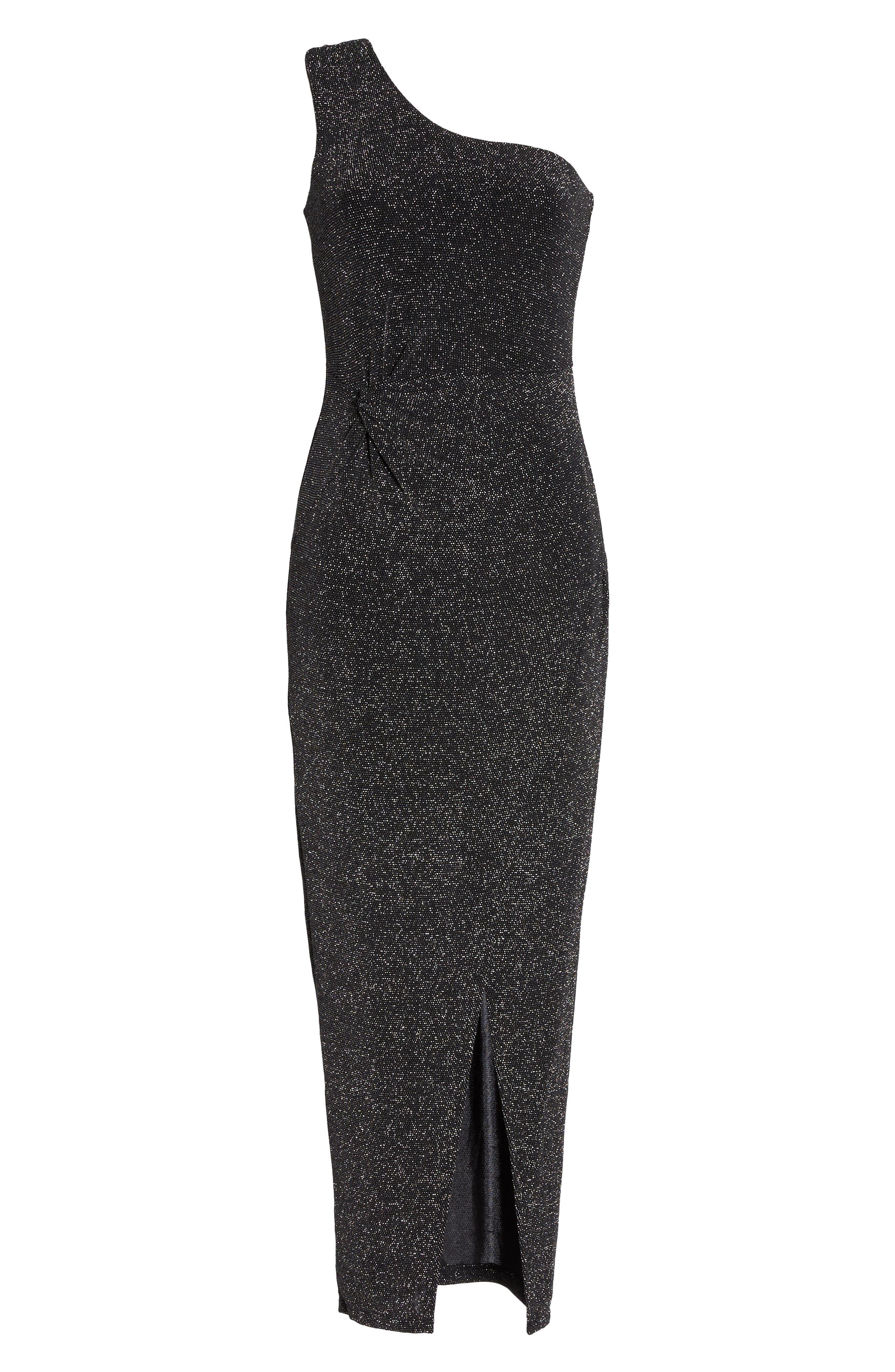 Slit Front One-Shoulder Gown,                             Alternate thumbnail 6, color,                             001