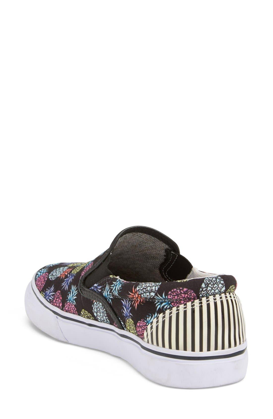 'Adele - Pineapple' Satin Slip-On Sneaker,                             Alternate thumbnail 3, color,                             001