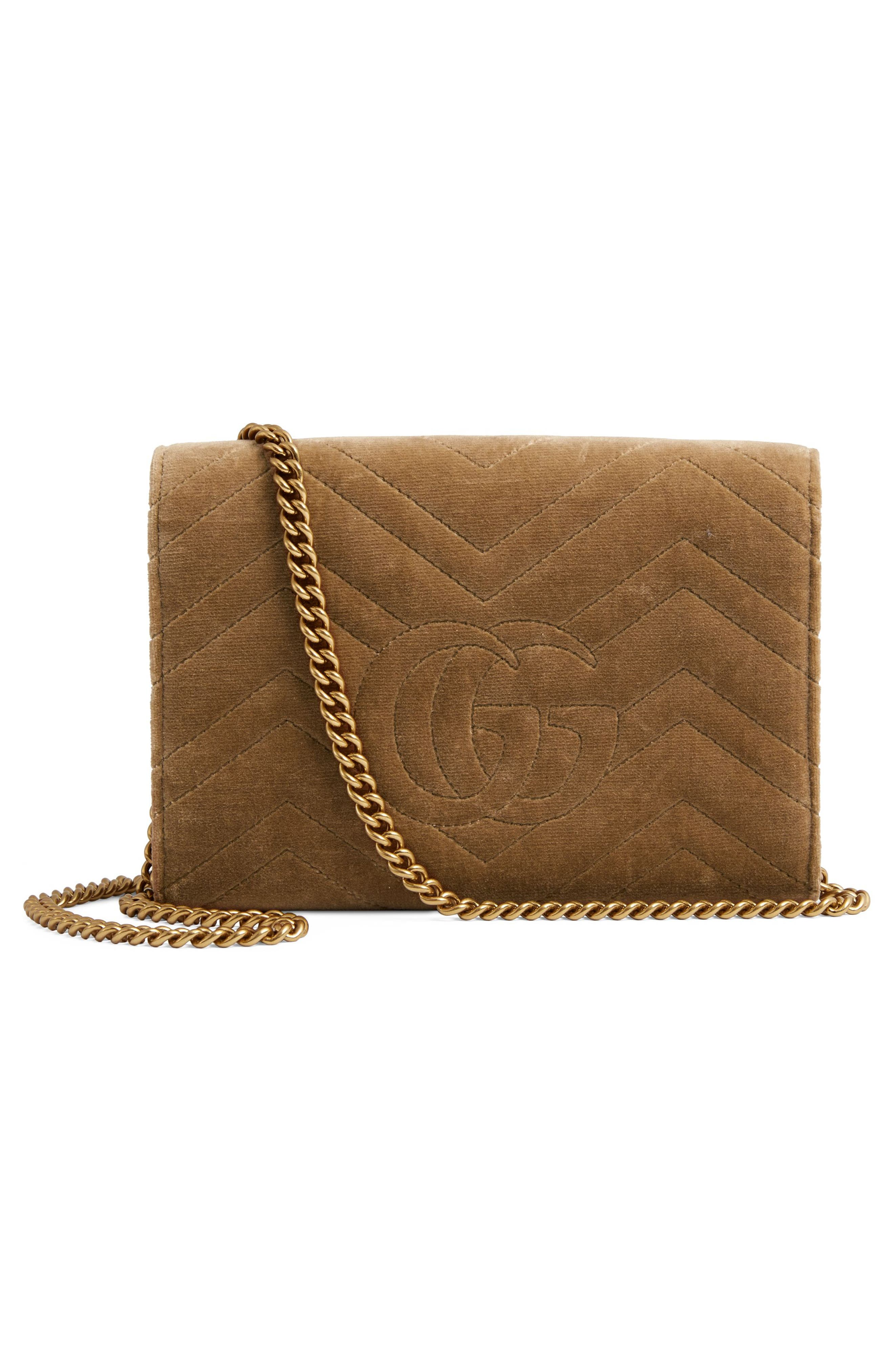 GG Marmont 2.0 Matelassé Velvet Wallet on a Chain,                             Alternate thumbnail 3, color,                             TAUPE/ TAUPE