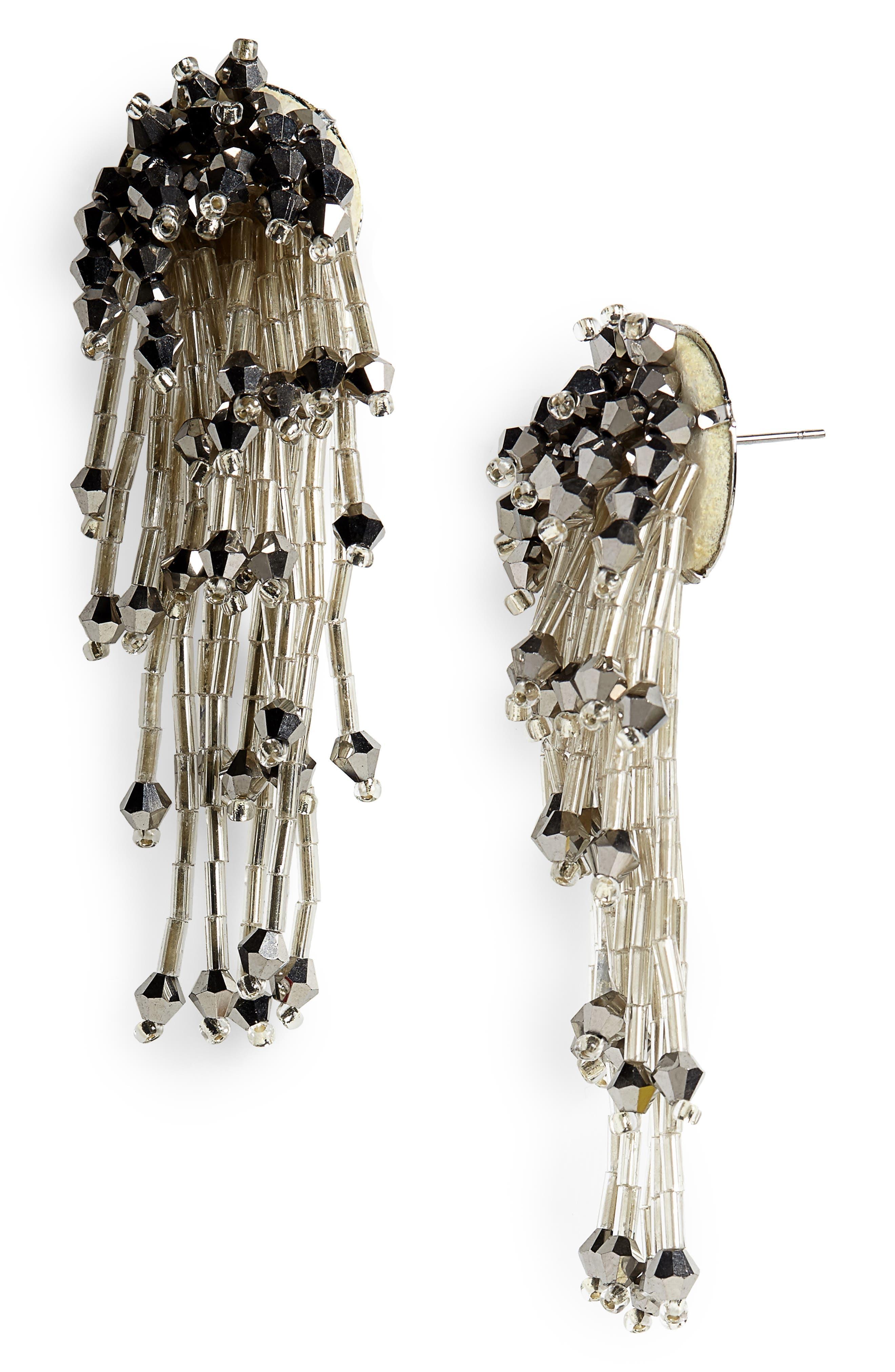 PANACEA Crystal Drop Earrings in Silver