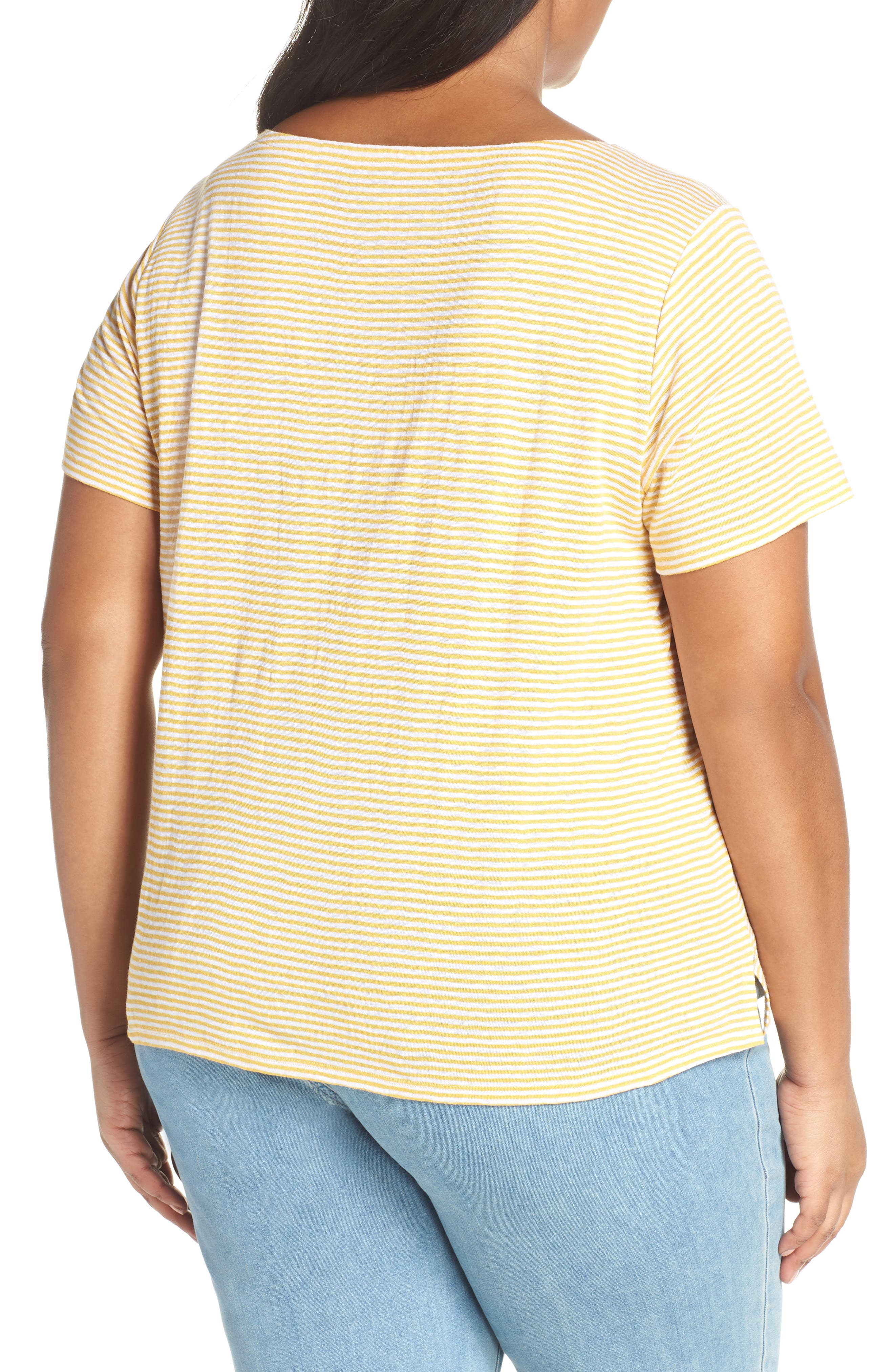 Square Neck Stripe Tee,                             Alternate thumbnail 2, color,                             MARIGOLD