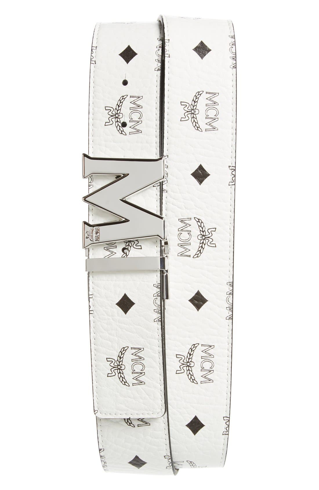 Cobalt Leather Belt,                         Main,                         color,
