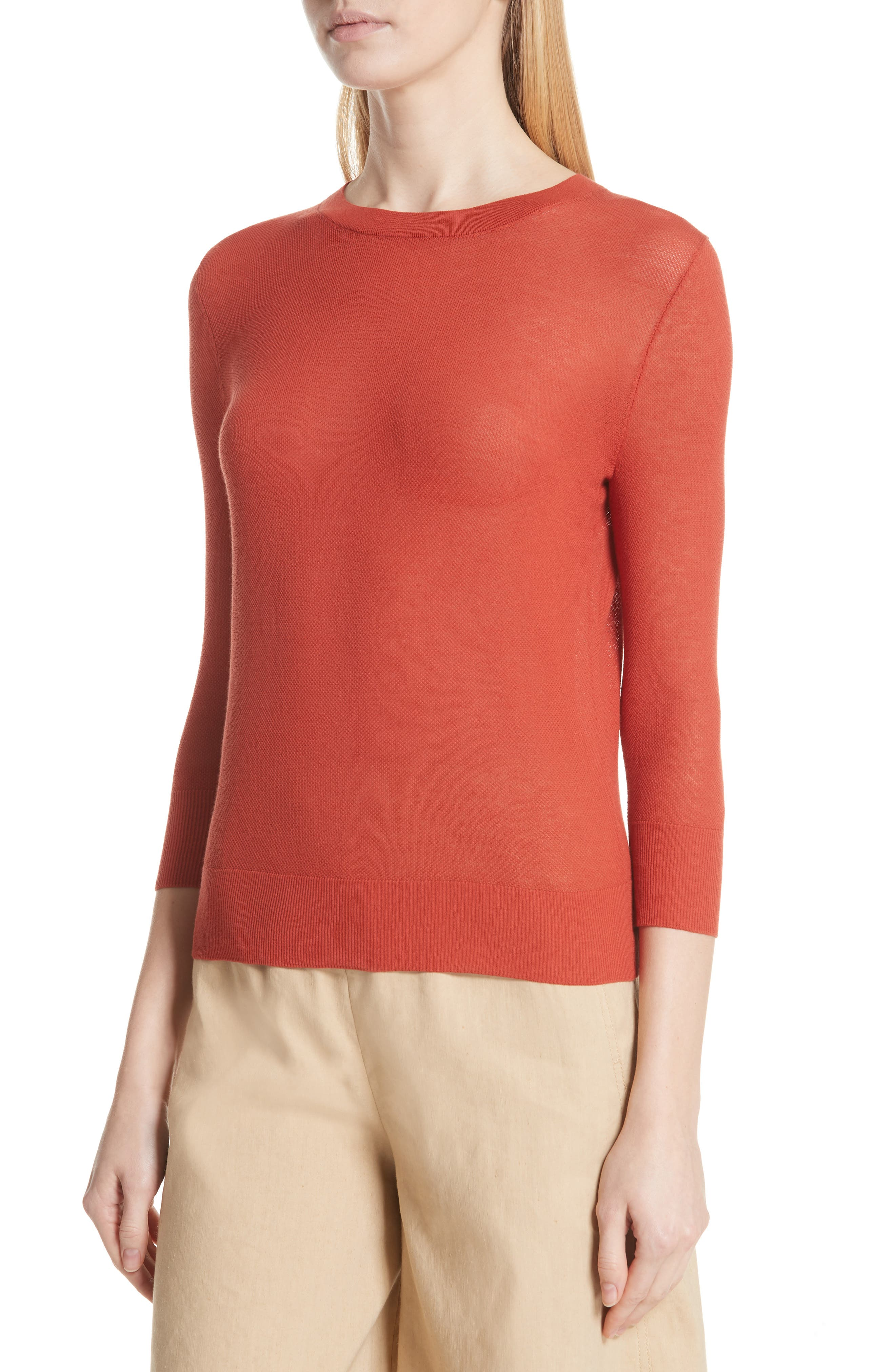 Textured Cotton Pullover Sweater,                             Alternate thumbnail 4, color,                             PAPRIKA