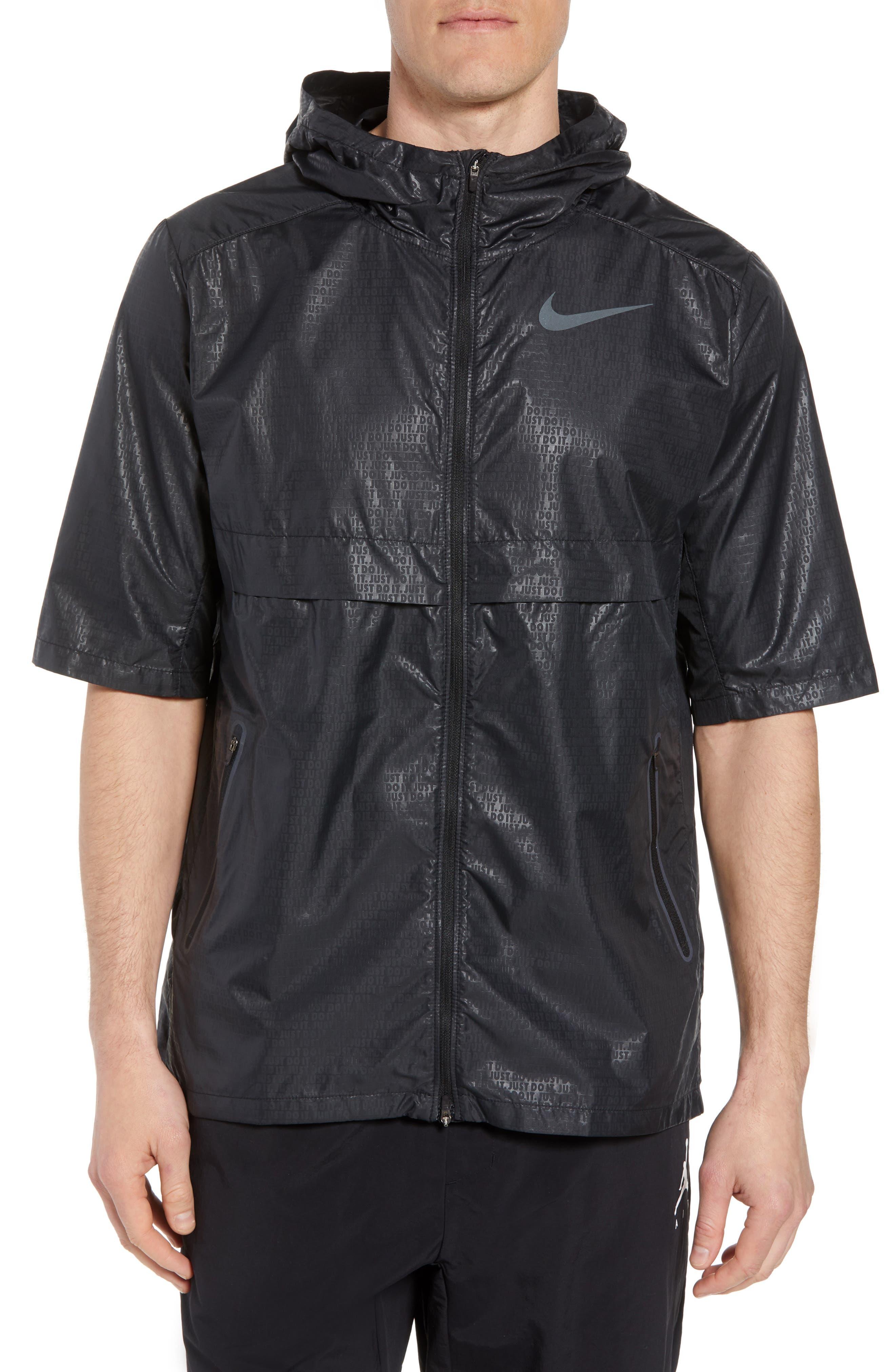 Running Shield Short Sleeve Hooded Jacket,                         Main,                         color, BLACK