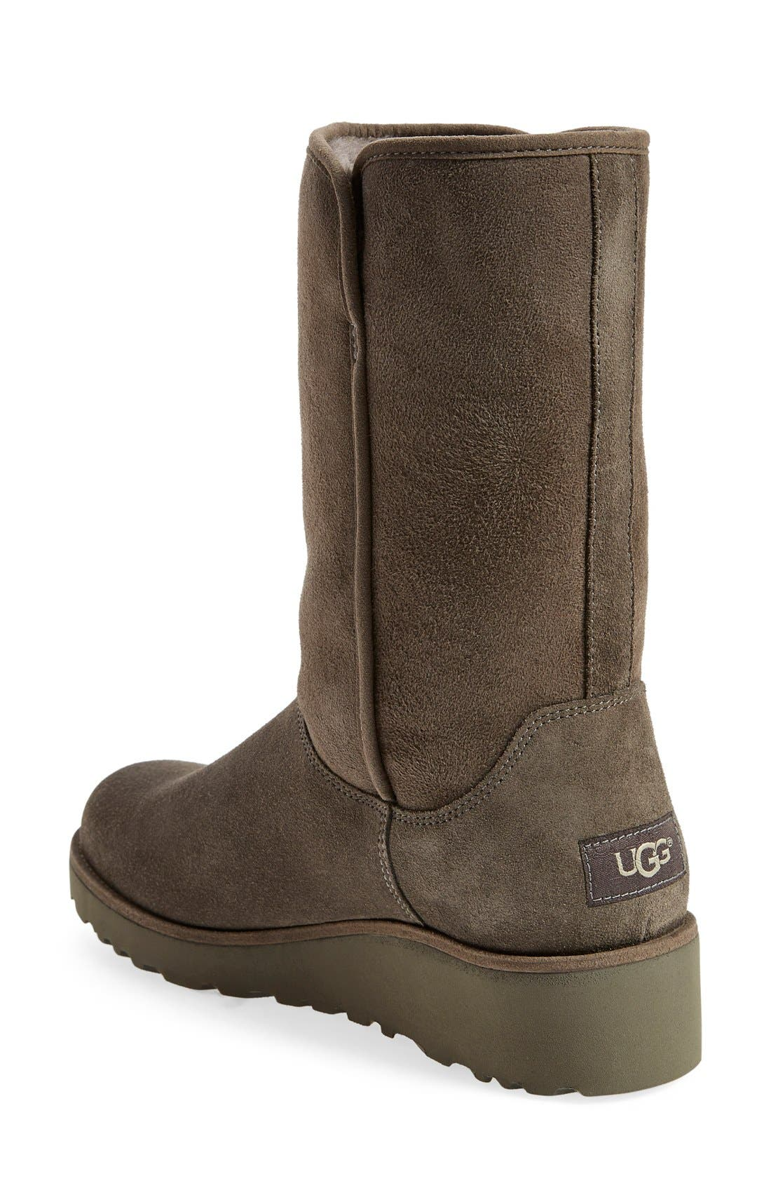 Amie - Classic Slim<sup>™</sup> Water Resistant Short Boot,                             Alternate thumbnail 4, color,                             GREY SUEDE