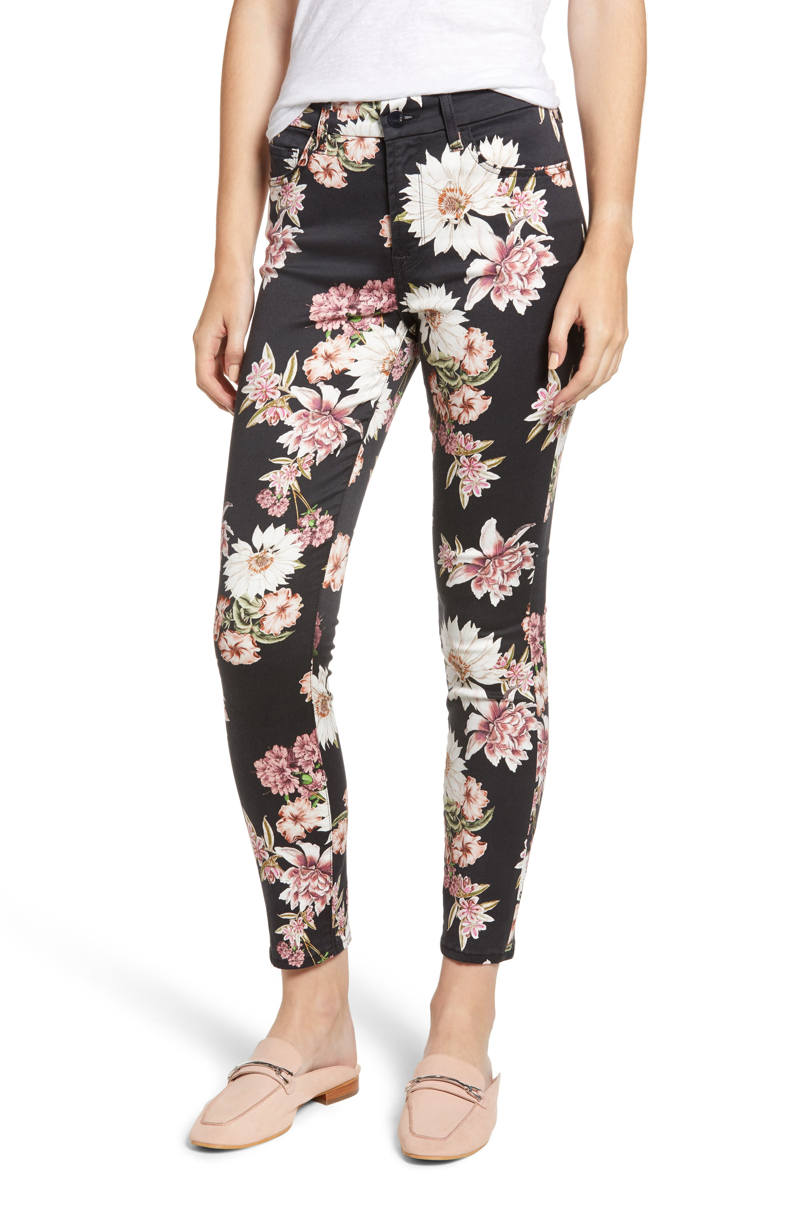JEN7 BY 7 FOR ALL MANKIND Floral Skinny Stretch Cotton Ankle Pants in Night Garden