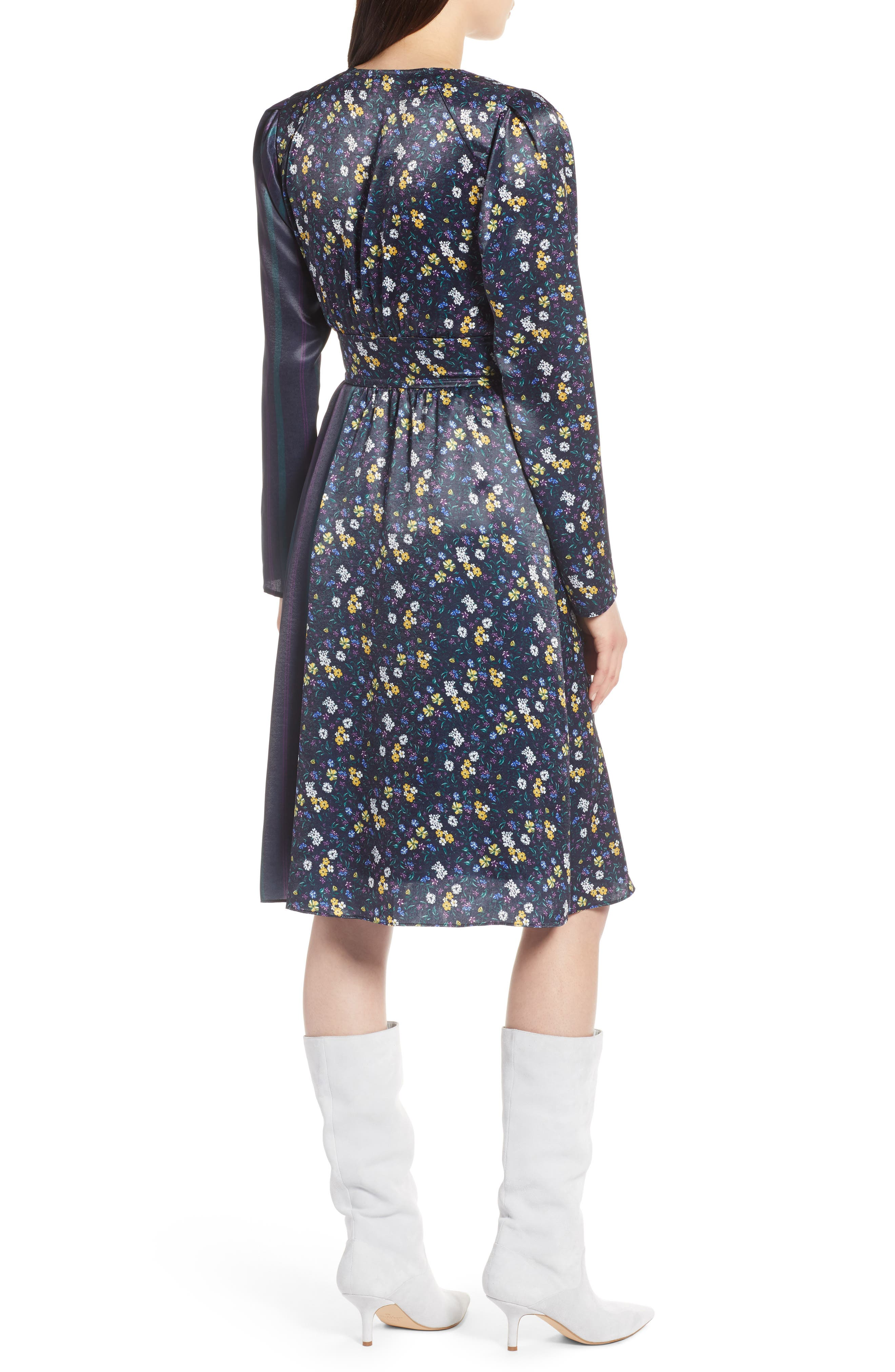 Print Satin Dress,                             Alternate thumbnail 2, color,                             410