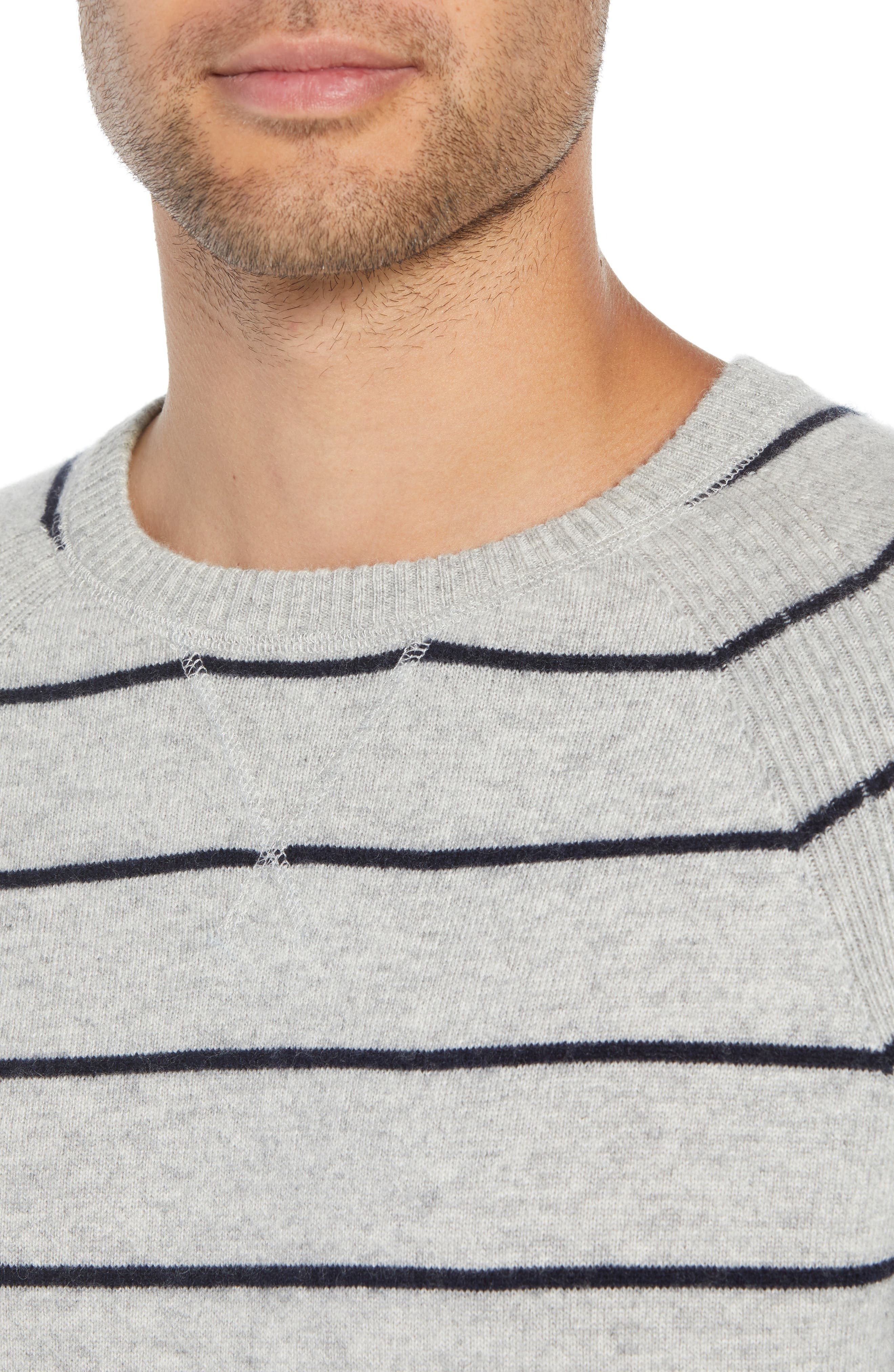 Caleb Stripe Cashmere Sweater,                             Alternate thumbnail 4, color,                             LIGHT HEATHER GREY/ NAVY