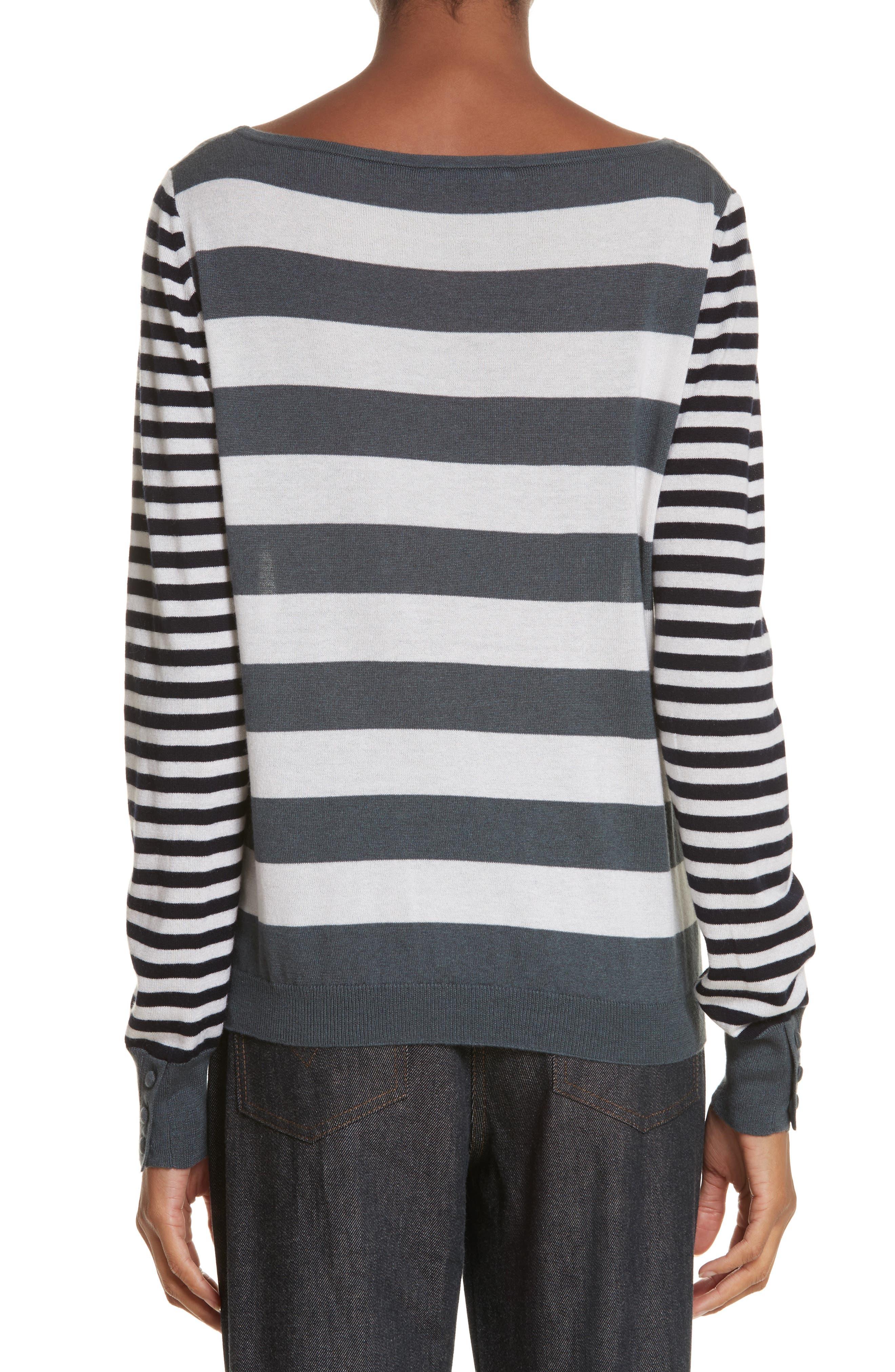 Marica Stripe Silk & Cashmere Sweater,                             Alternate thumbnail 2, color,                             054