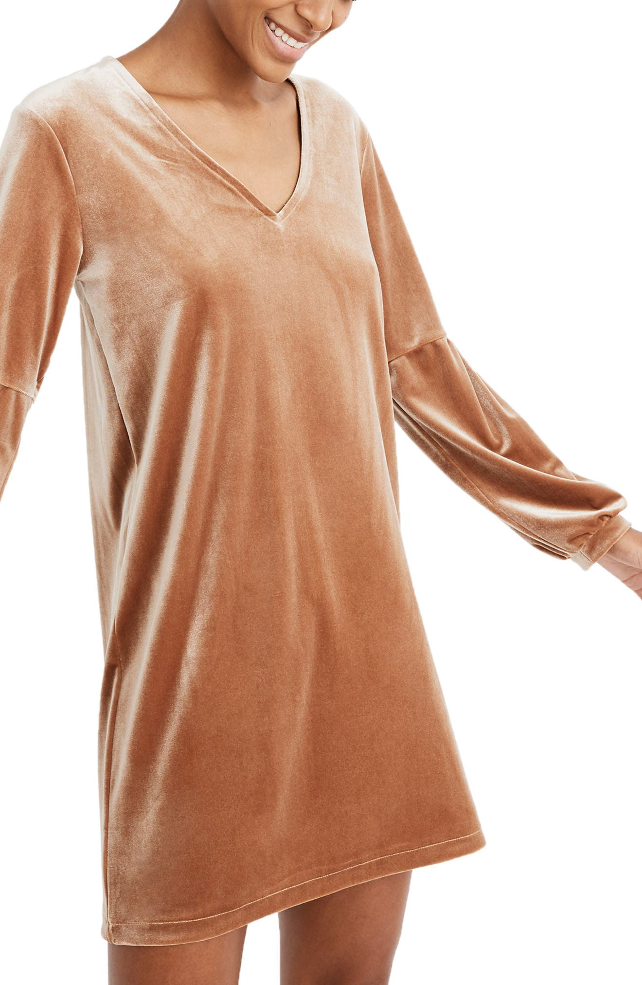 Balloon Sleeve Velvet Dress,                             Main thumbnail 1, color,                             BURNT SIENNA