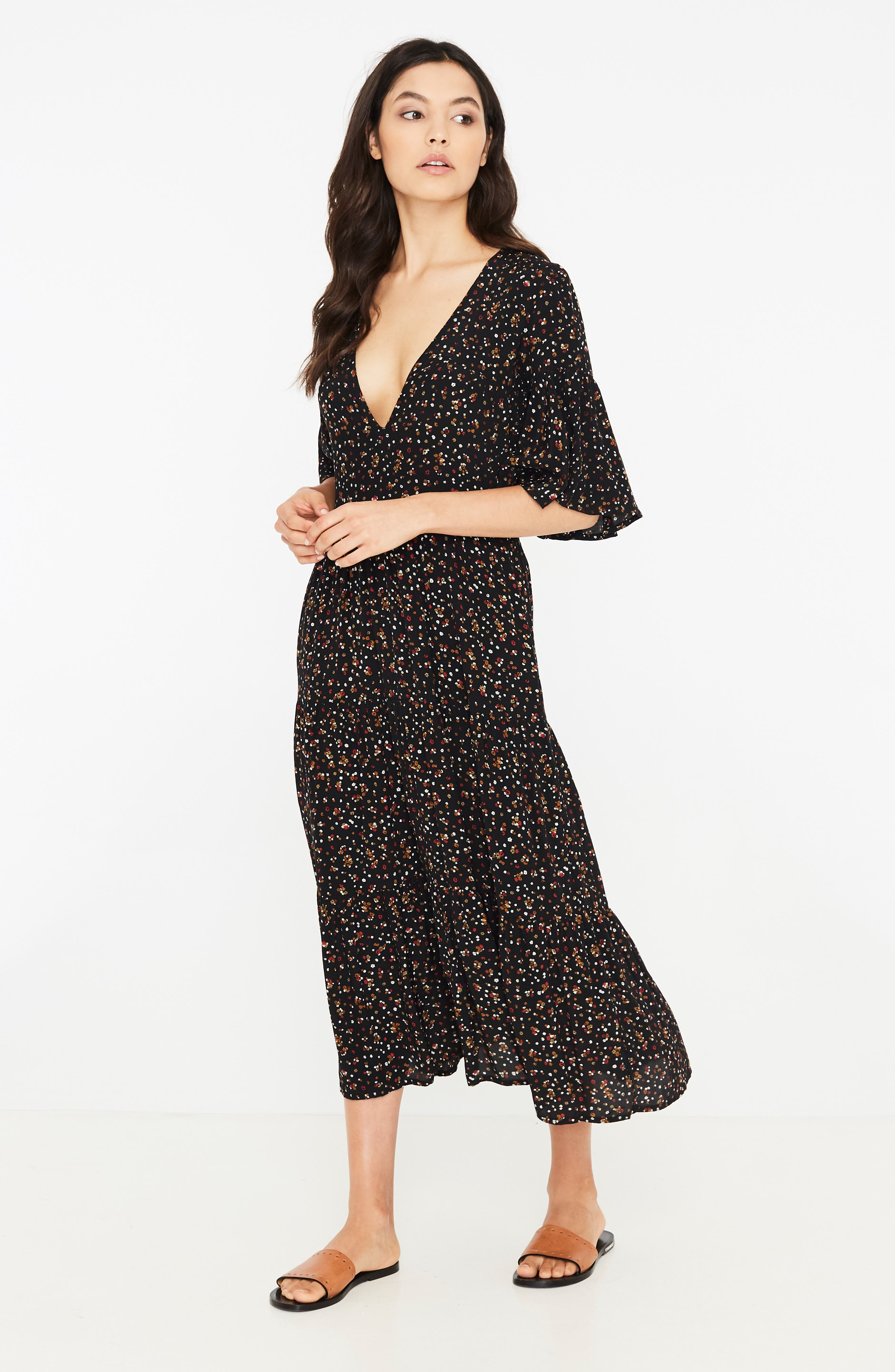 Melia Ditsy Floral Print Midi Dress,                             Alternate thumbnail 5, color,                             001