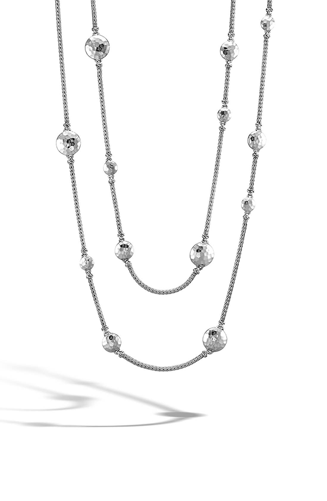 Dot Hammered Station Necklace,                             Alternate thumbnail 4, color,                             SILVER