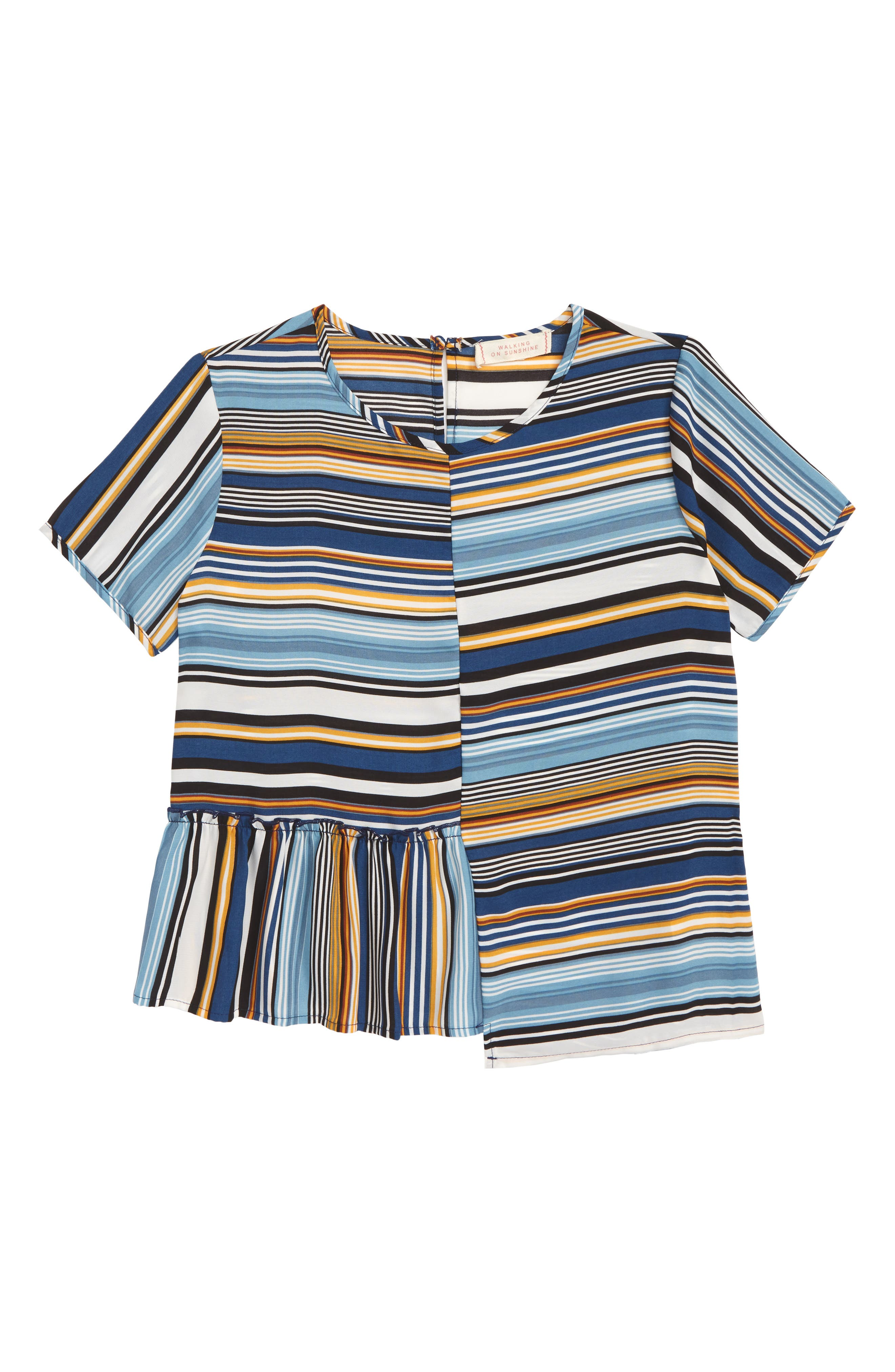 Stripe Ruffle Shirt,                             Main thumbnail 1, color,                             STRIPE