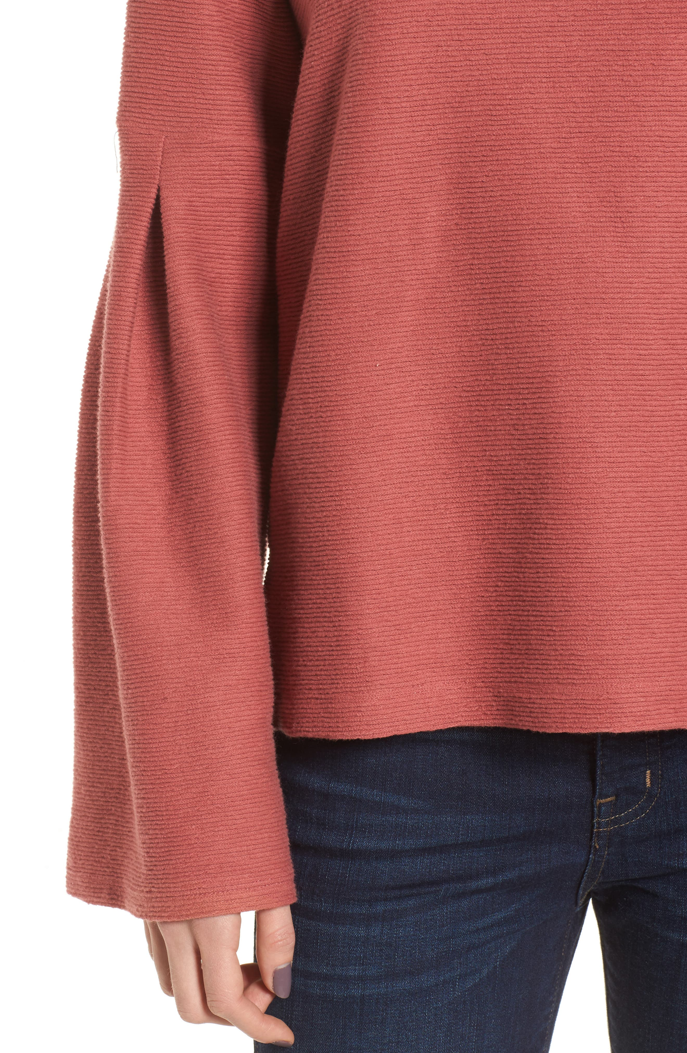 Flare Sleeve Ribbed Top,                             Alternate thumbnail 4, color,                             660