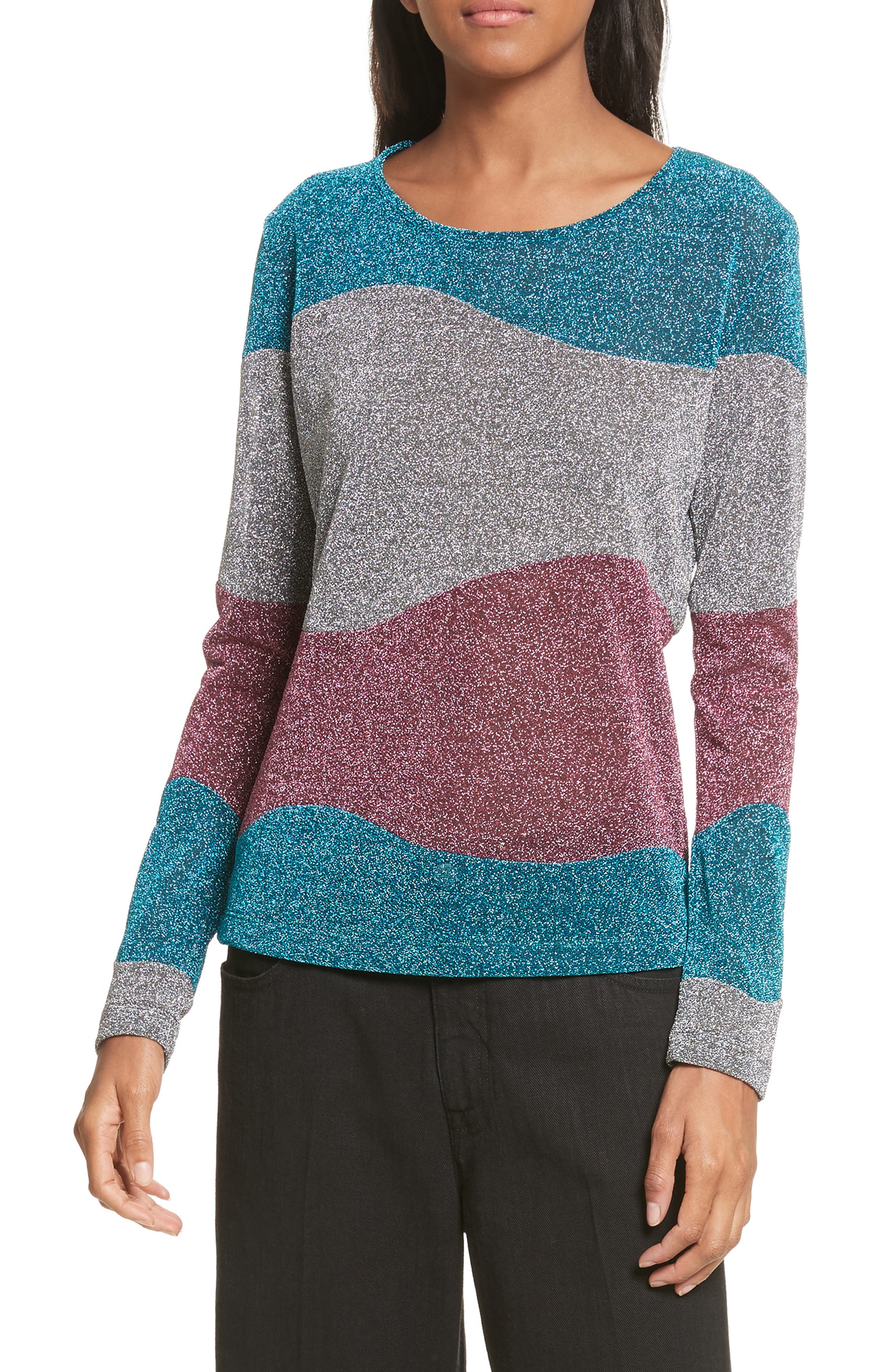 Metallic Knit Sweater,                             Main thumbnail 1, color,