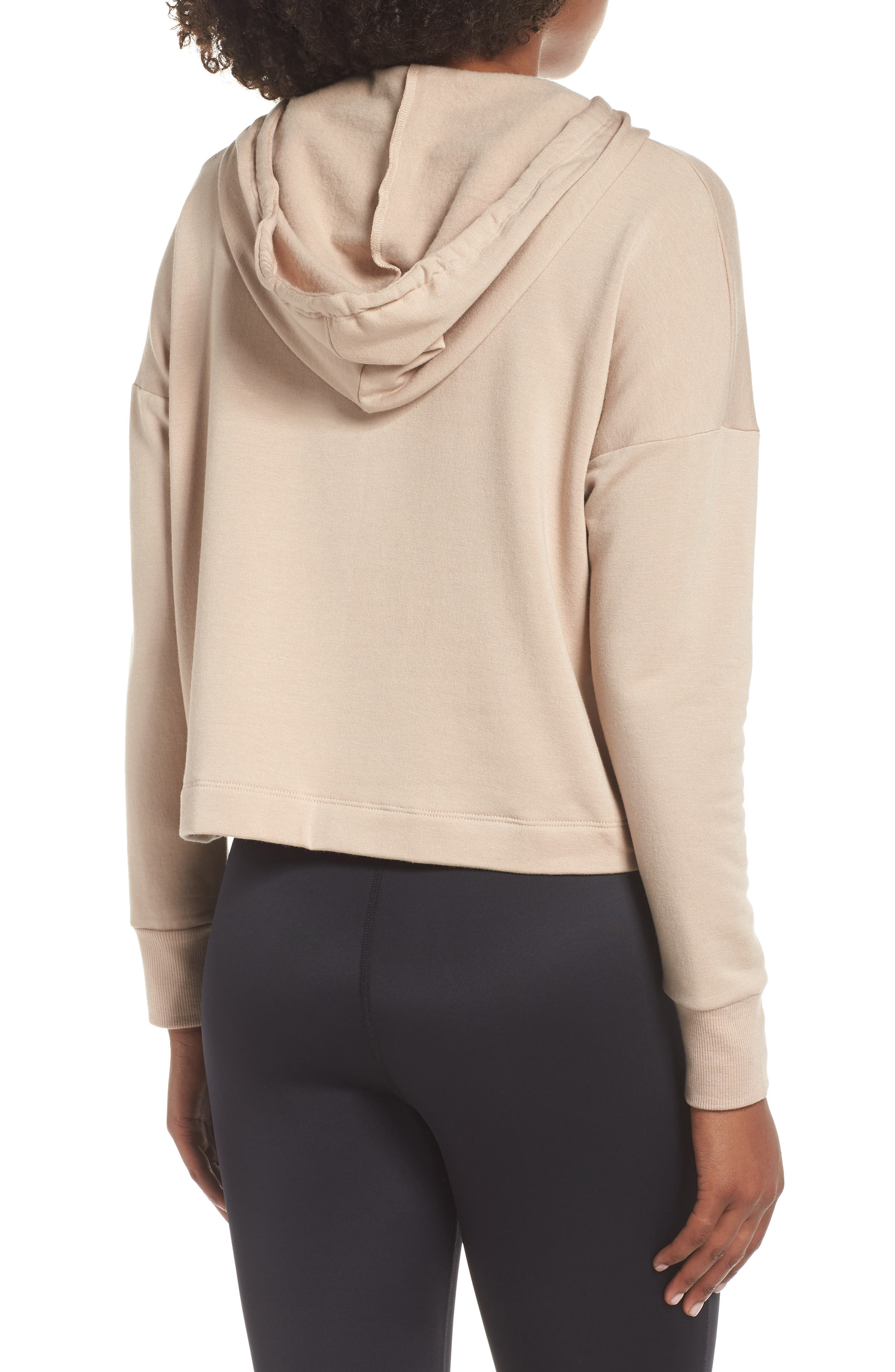 Sedona Cropped Hoodie,                             Alternate thumbnail 2, color,                             TEXAS TAUPE