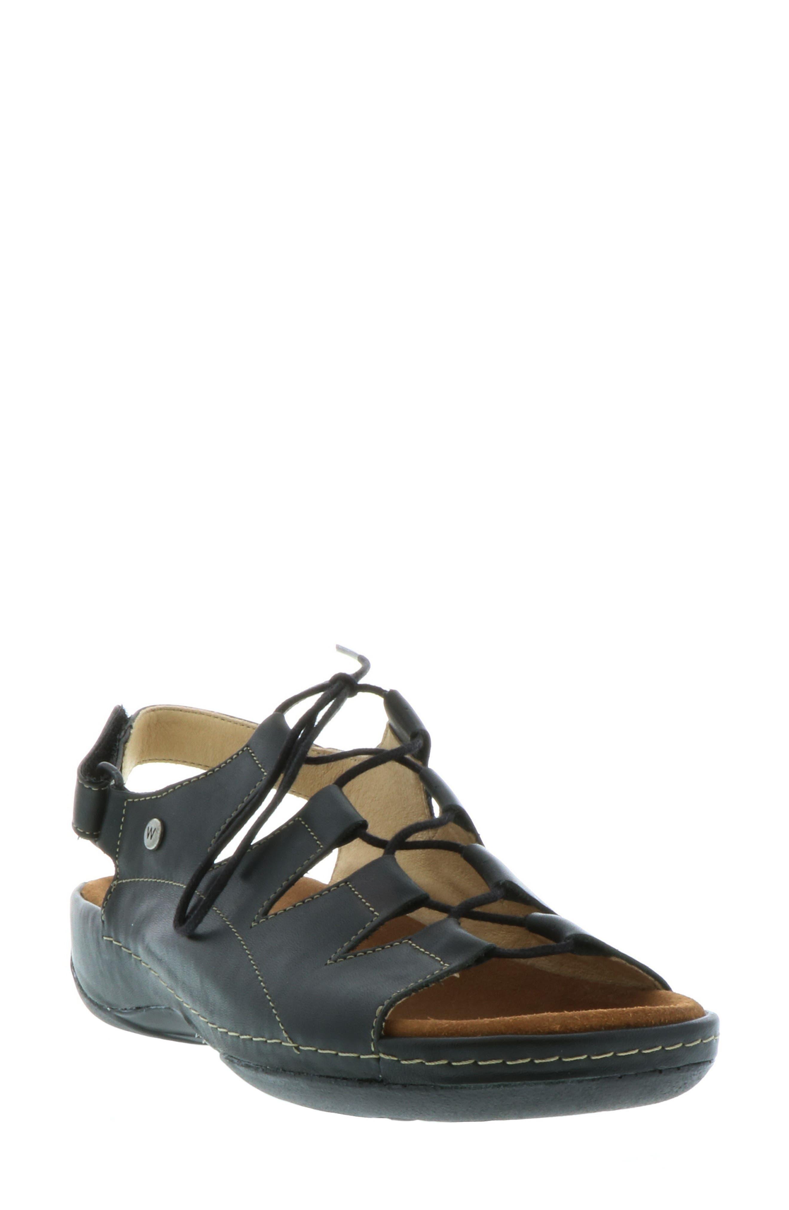 Kite Lace-Up Sandal,                             Main thumbnail 1, color,                             BLACK LEATHER