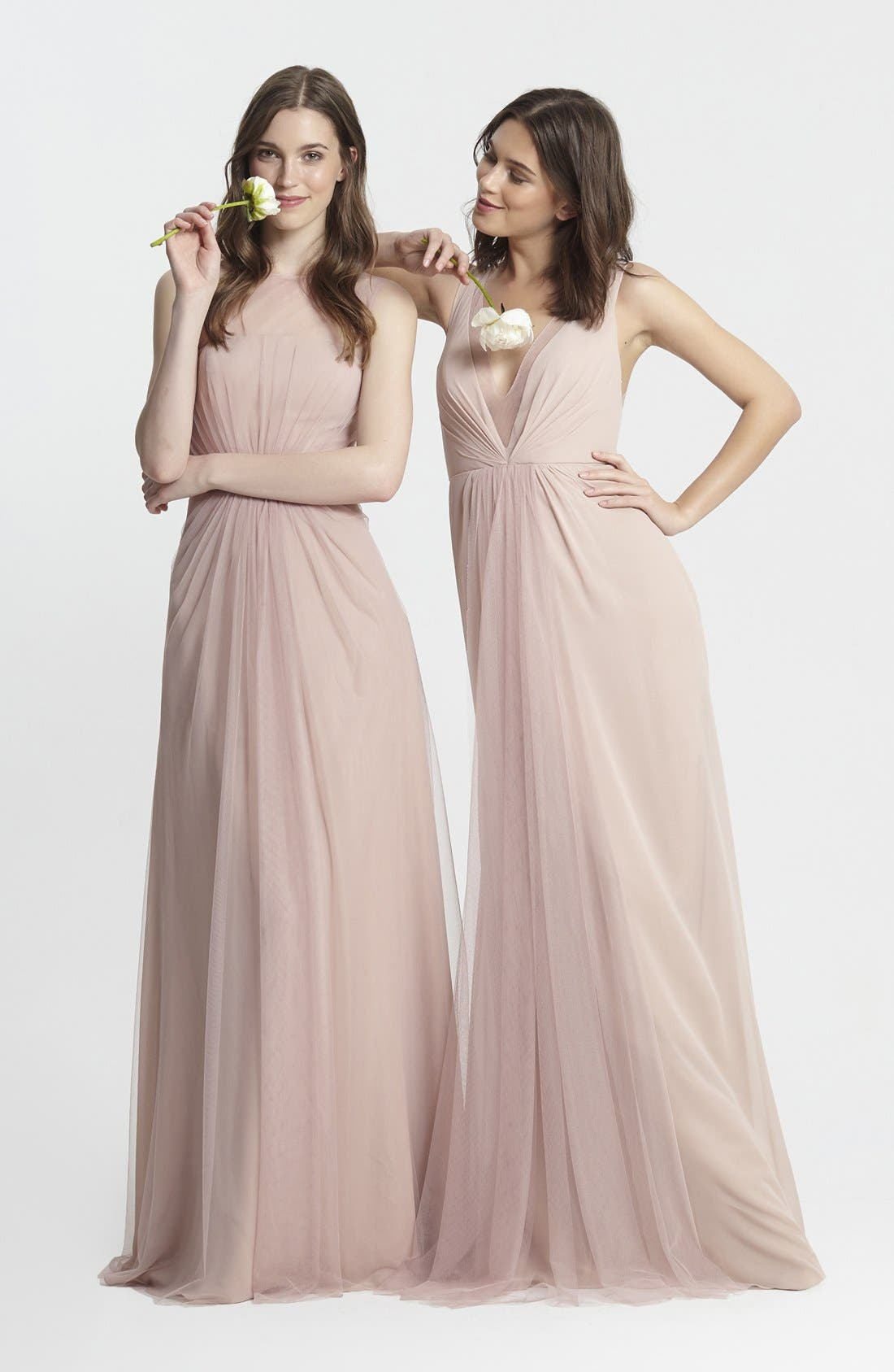 Deep V-Neck Chiffon & Tulle Gown,                             Alternate thumbnail 15, color,