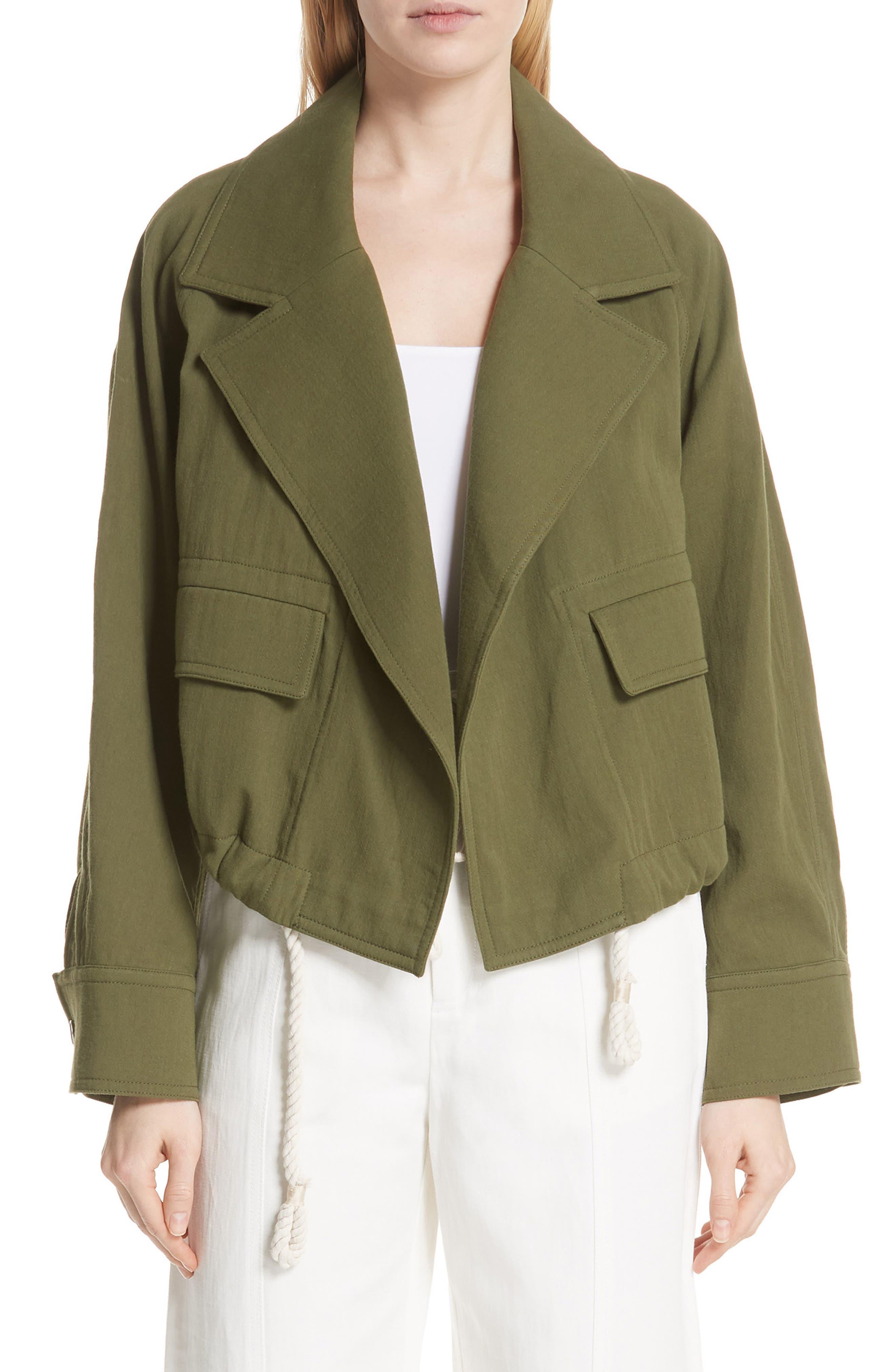 VINCE Drawstring Crop Cotton Jacket, Main, color, 315