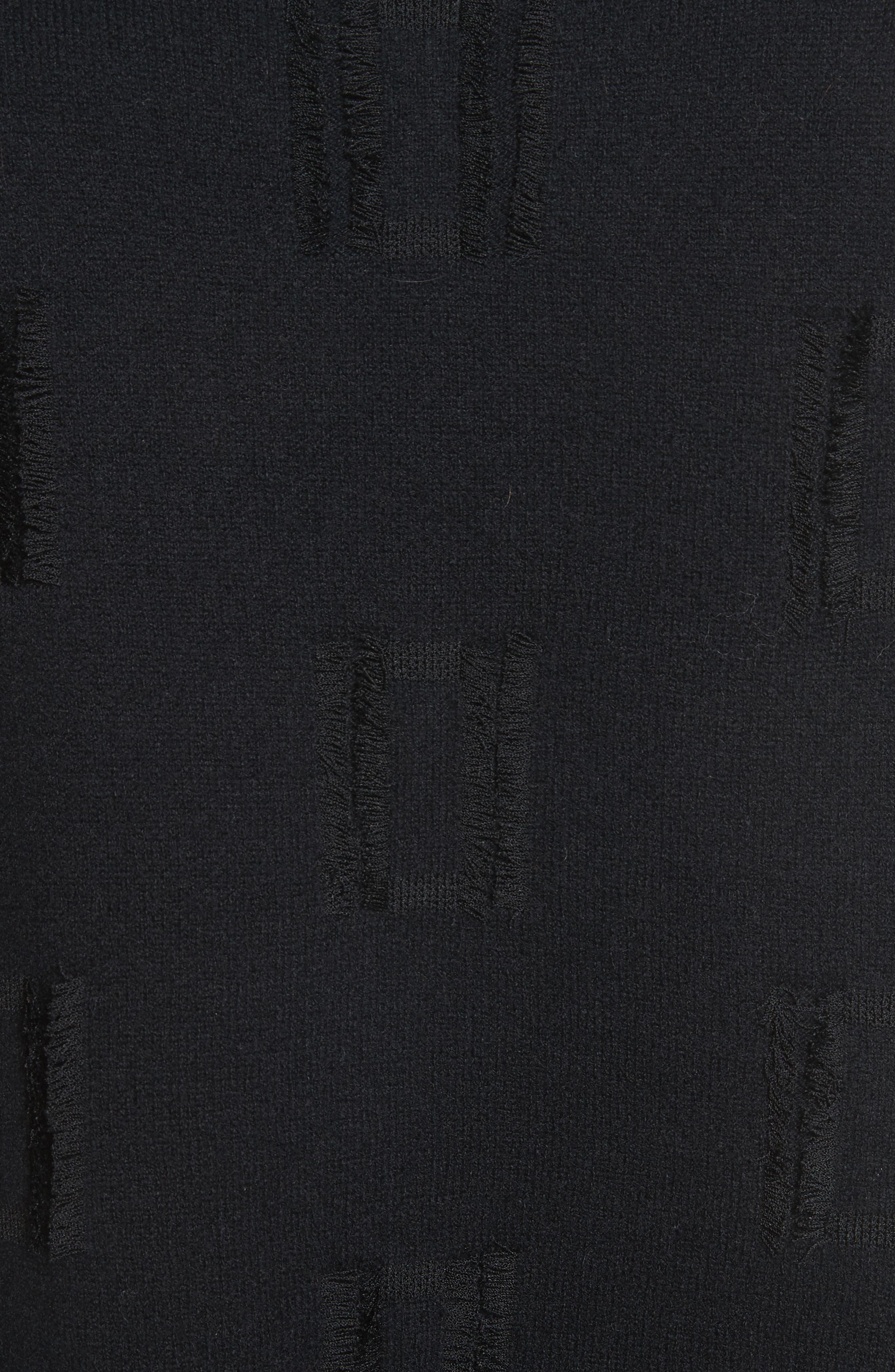 Fringe Trim Turtleneck Sweater,                             Alternate thumbnail 5, color,                             001