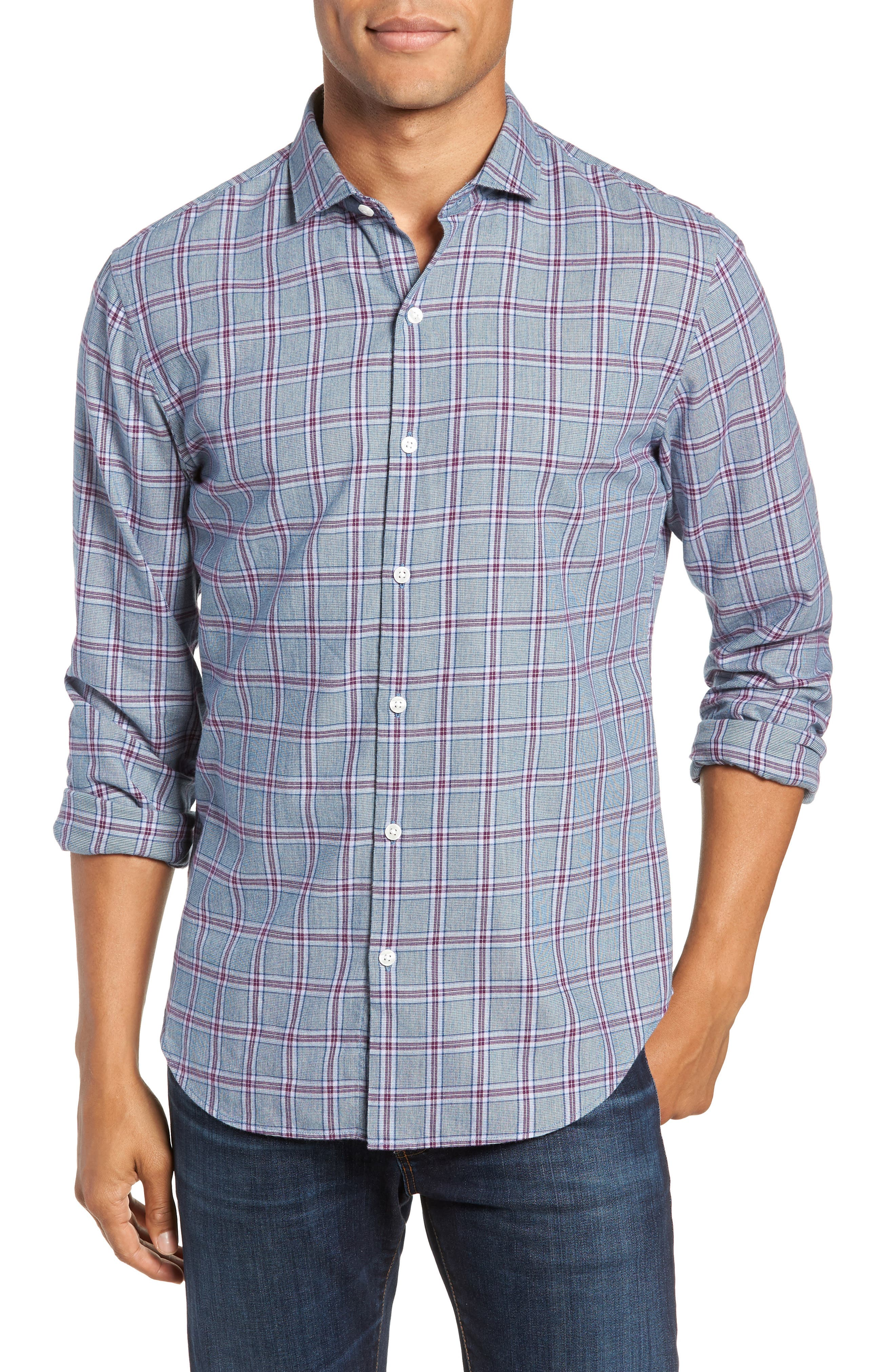 Unbutton Down Slim Fit Check Sport Shirt,                         Main,                         color, GRAPESEED