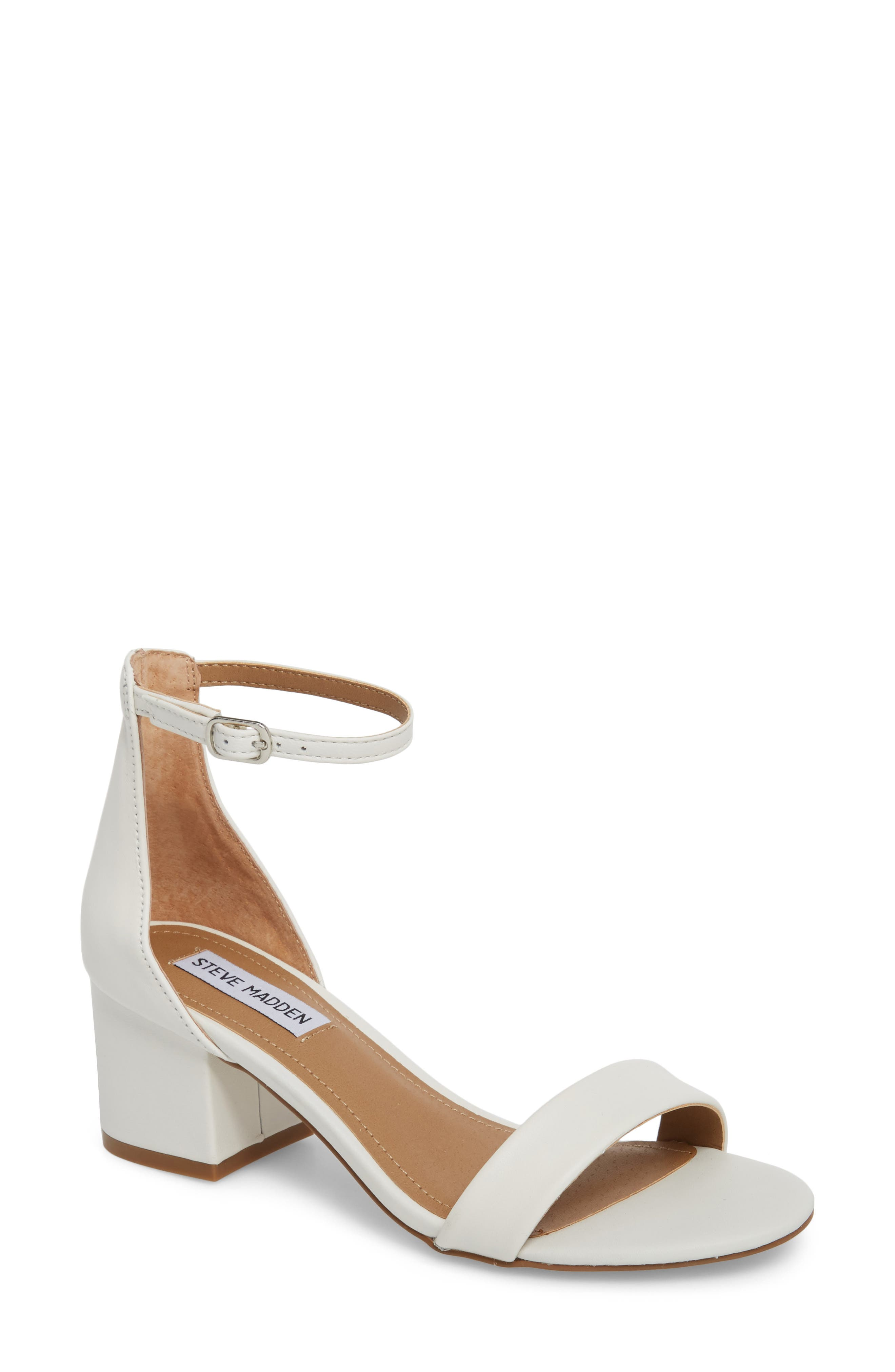 Irenee Ankle Strap Sandal,                         Main,                         color, WHITE LEATHER