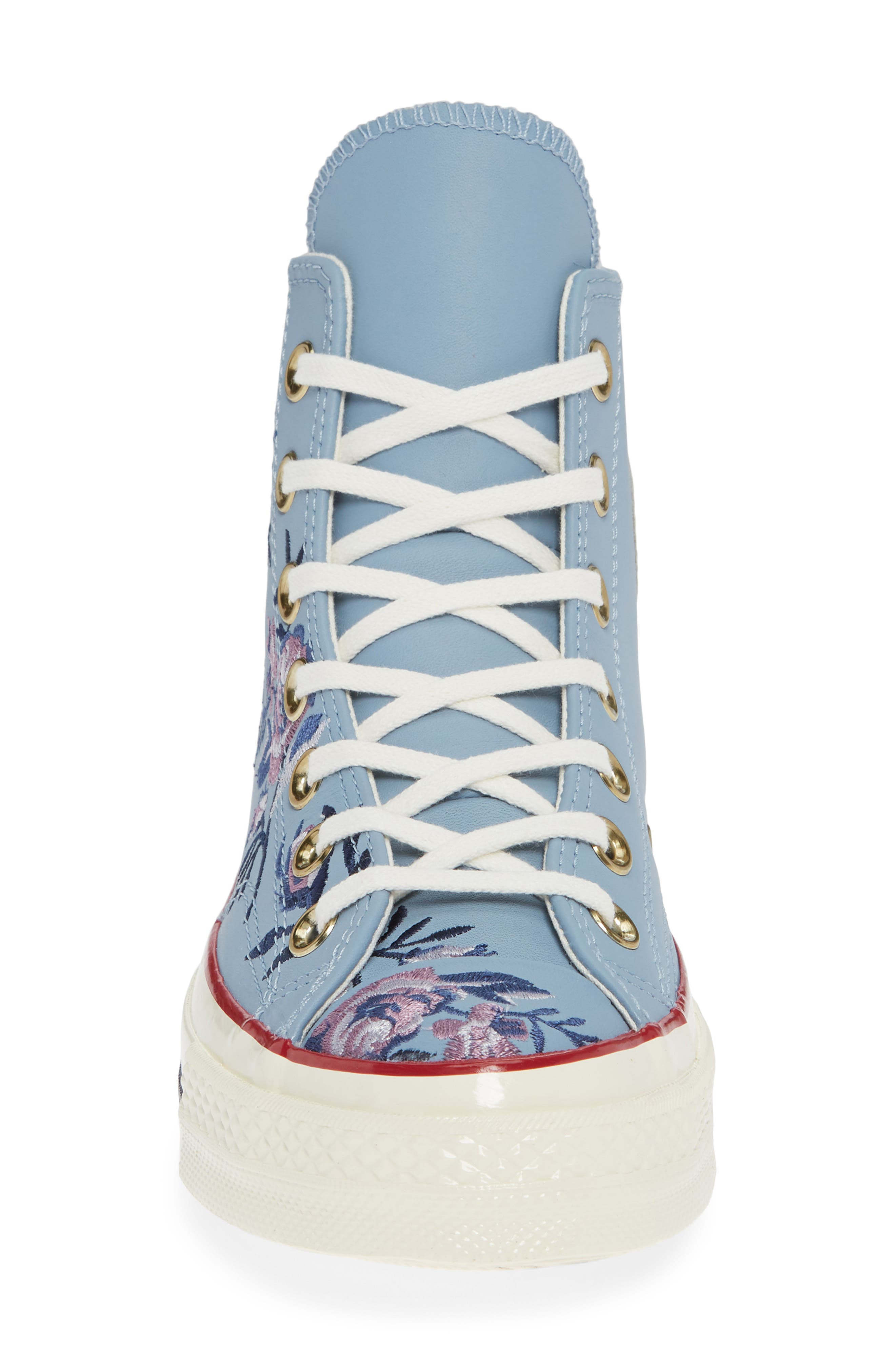 Chuck Taylor<sup>®</sup> All Star<sup>®</sup> Parkway Floral 70 High Top Sneaker,                             Alternate thumbnail 4, color,                             WASHED DENIM LEATHER