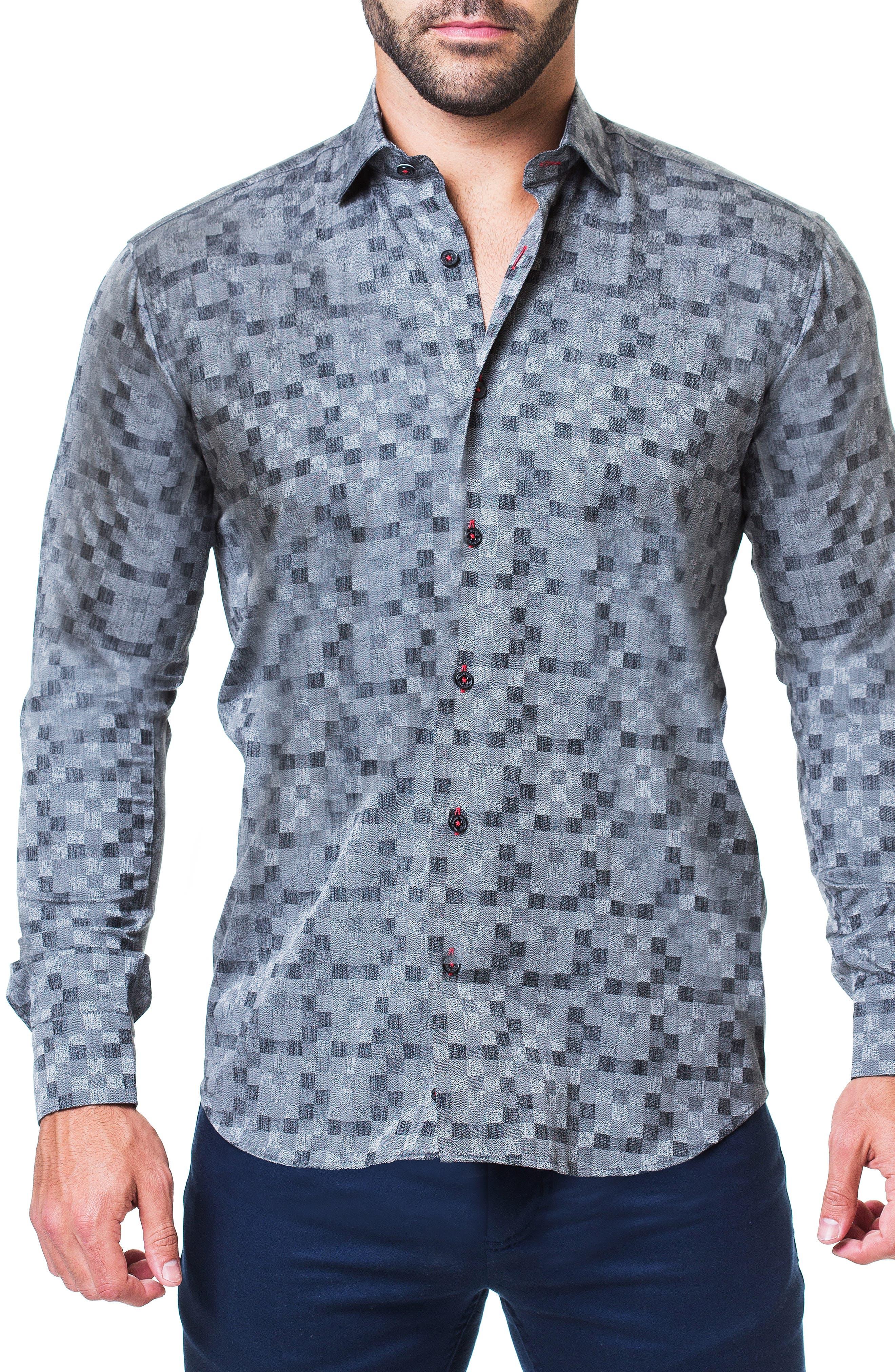Fibonacci Domino Trim Fit Sport Shirt,                         Main,                         color, GREY