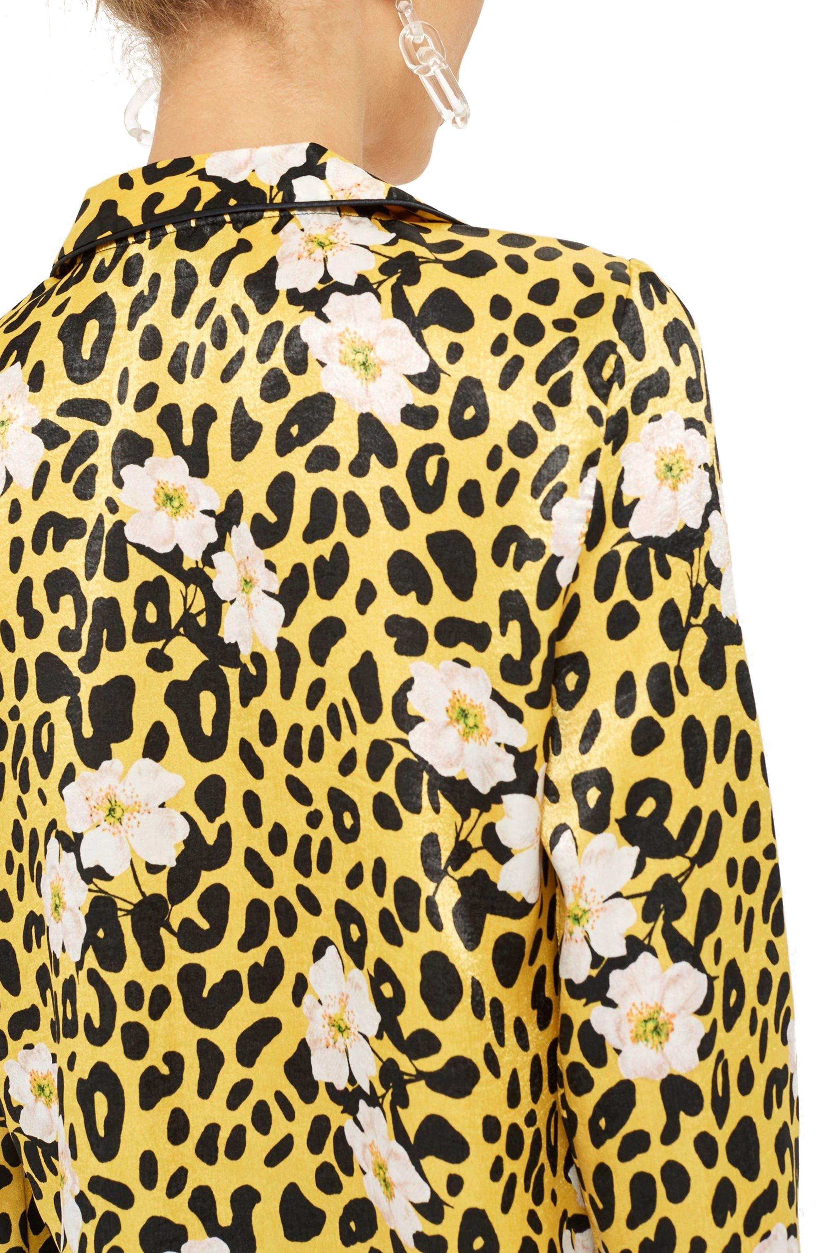 Animal Floral Print Pajama Shirt,                             Alternate thumbnail 2, color,
