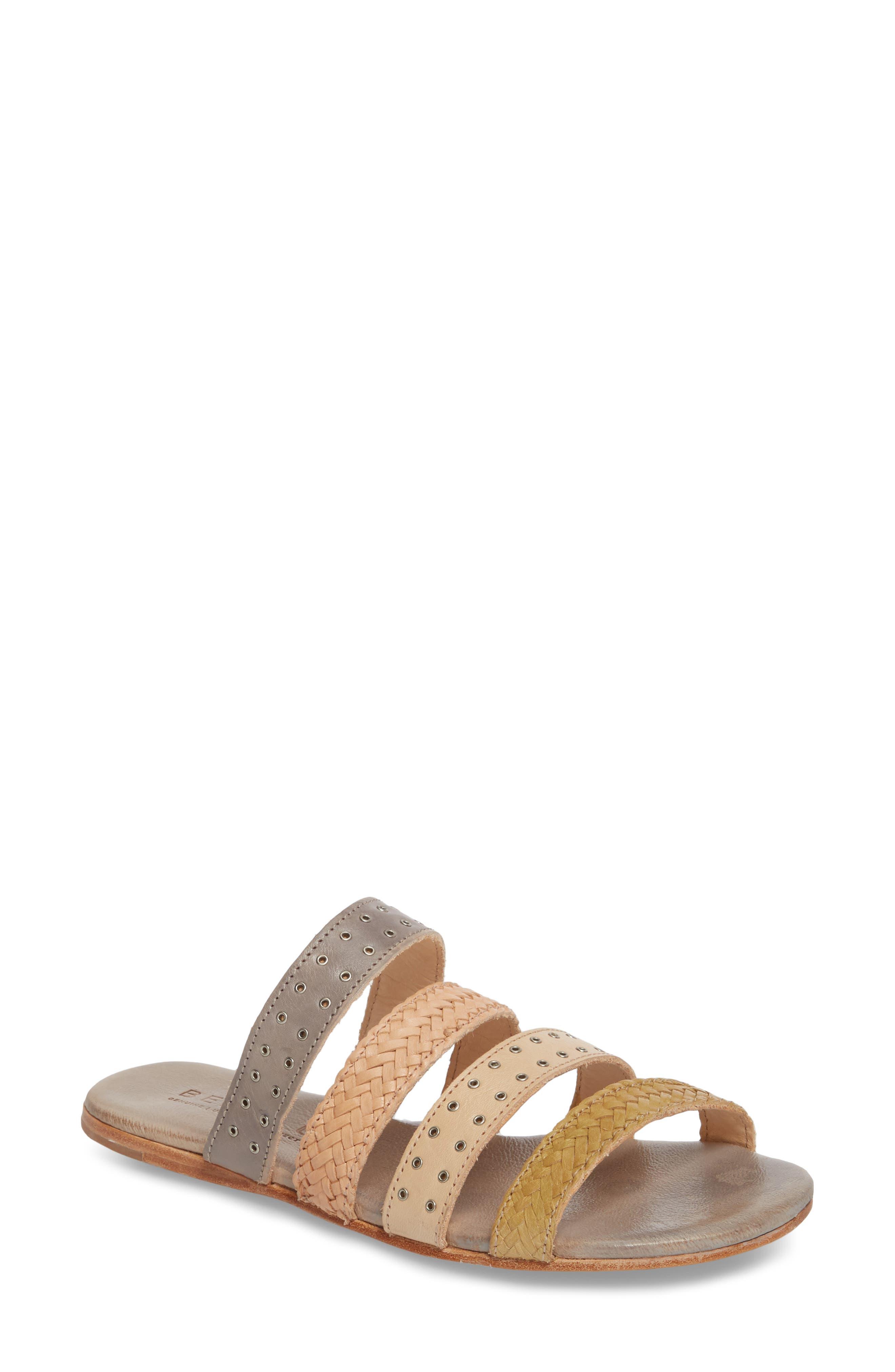 Henna Slide Sandal,                         Main,                         color, CASHEW/ LIGHT GREY LEATHER