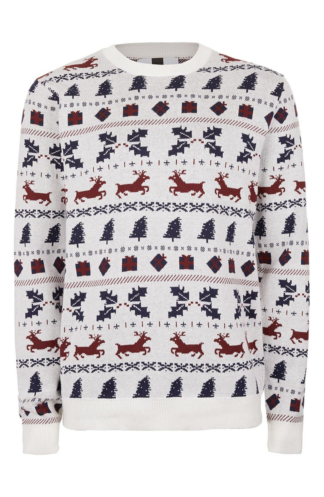 TOPMAN,                             Christmas Fair Isle Sweater,                             Alternate thumbnail 4, color,                             901