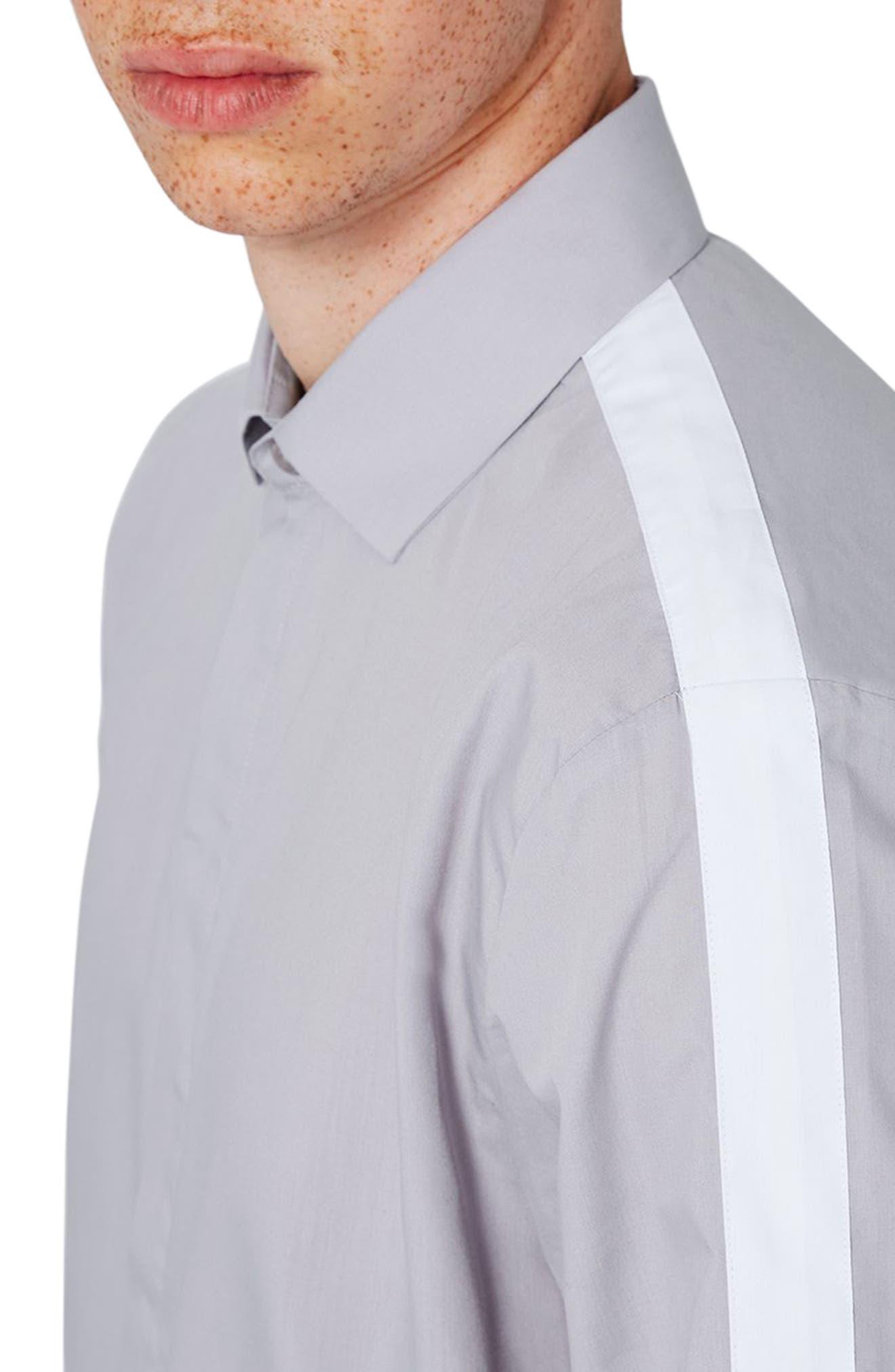 Slim Fit Contrast Stripe Woven Shirt,                             Alternate thumbnail 3, color,                             020