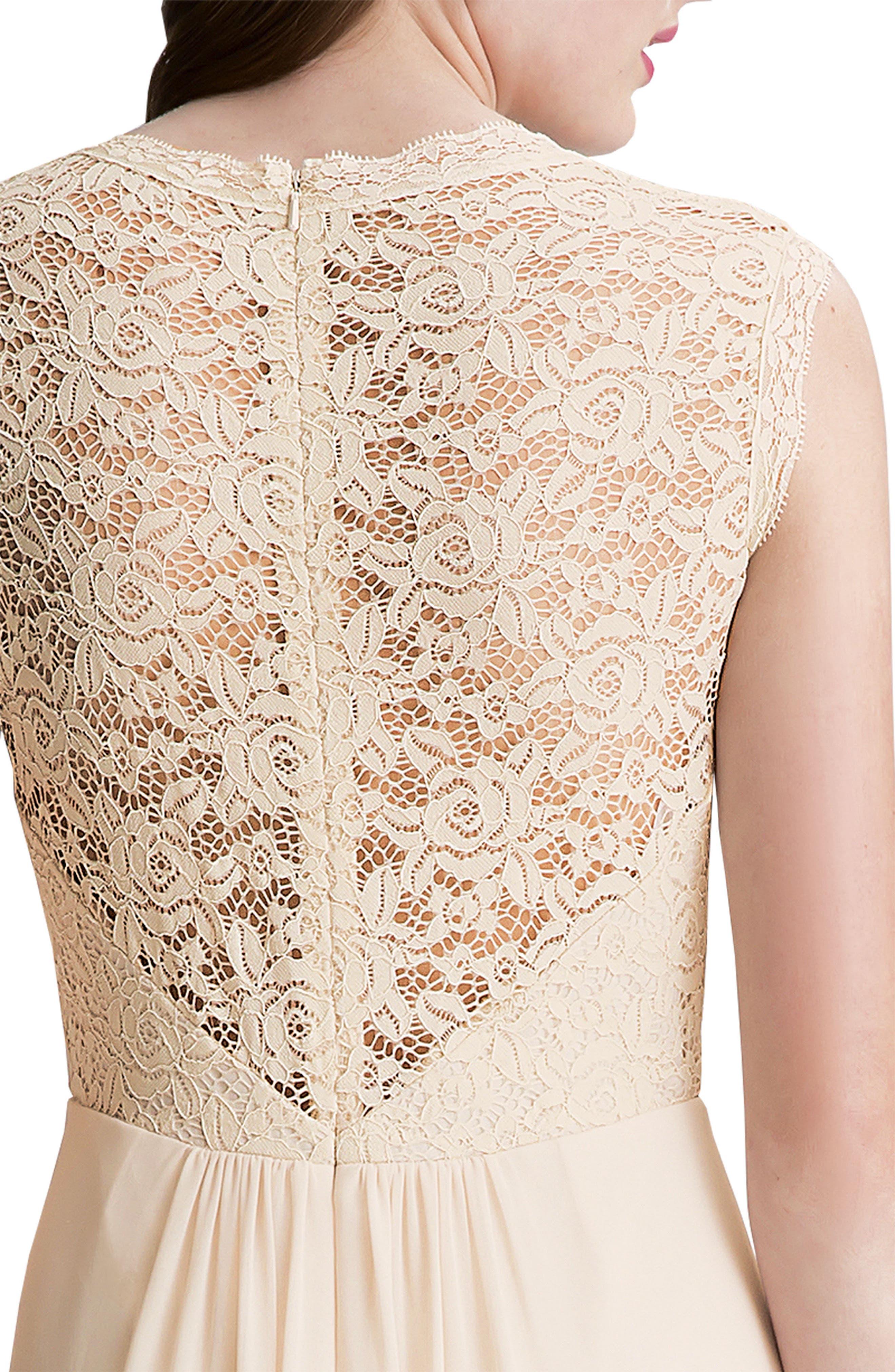 Lace Bodice A-Line Gown,                             Alternate thumbnail 5, color,