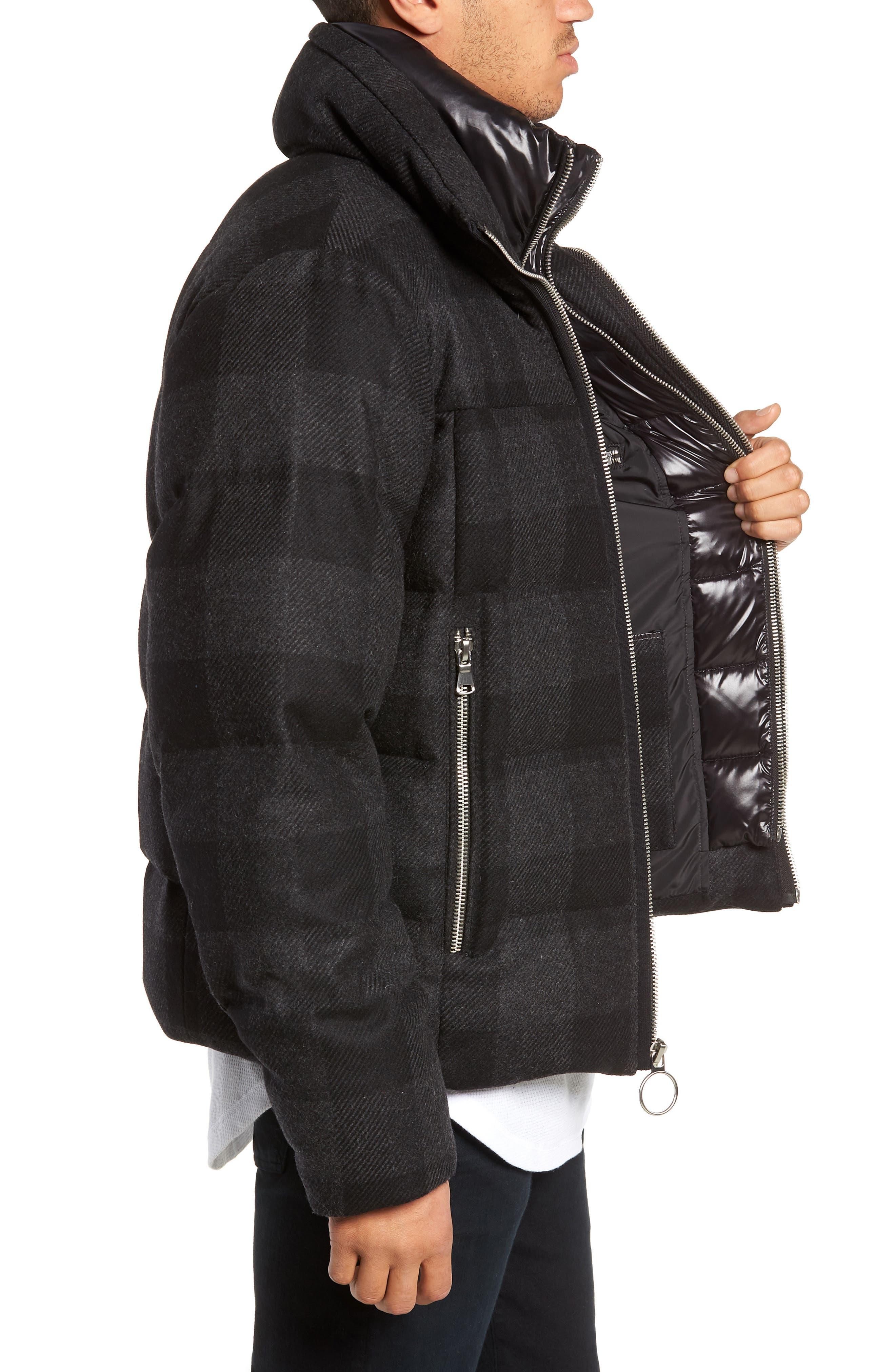 Crosby Plaid Wool Bib Puffer Jacket,                             Alternate thumbnail 3, color,                             CHARCOAL/ BLACK PLAID