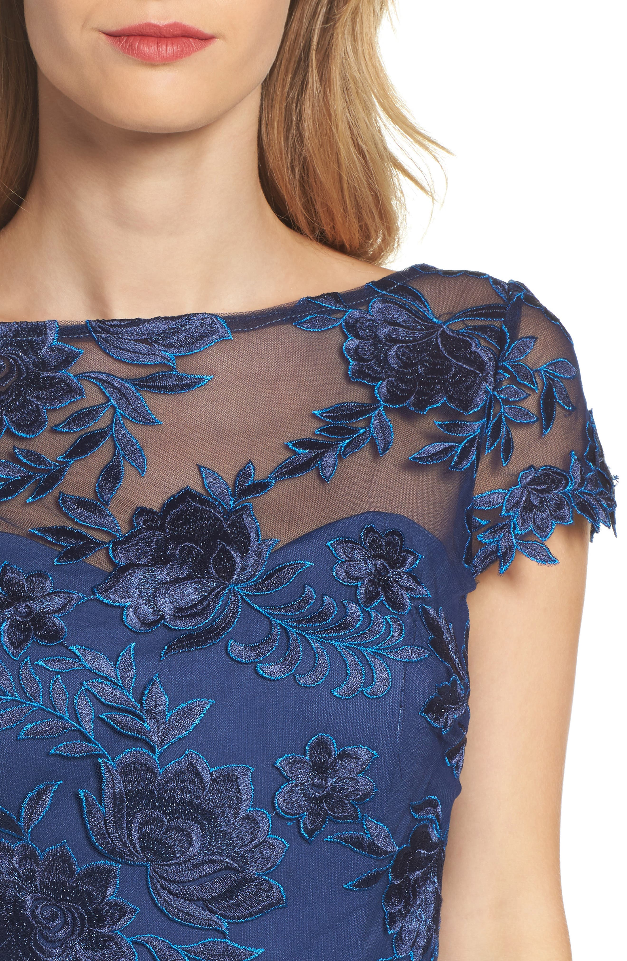 Lace Overlay Gown,                             Alternate thumbnail 4, color,                             NAVY