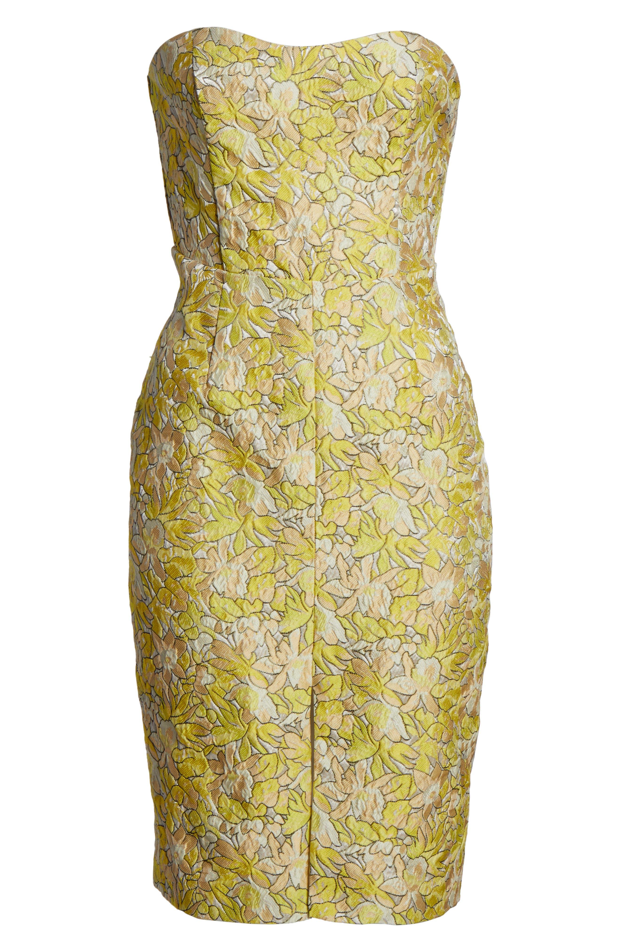 Gretta Strapless Jacquard Sheath Dress,                             Alternate thumbnail 6, color,                             730
