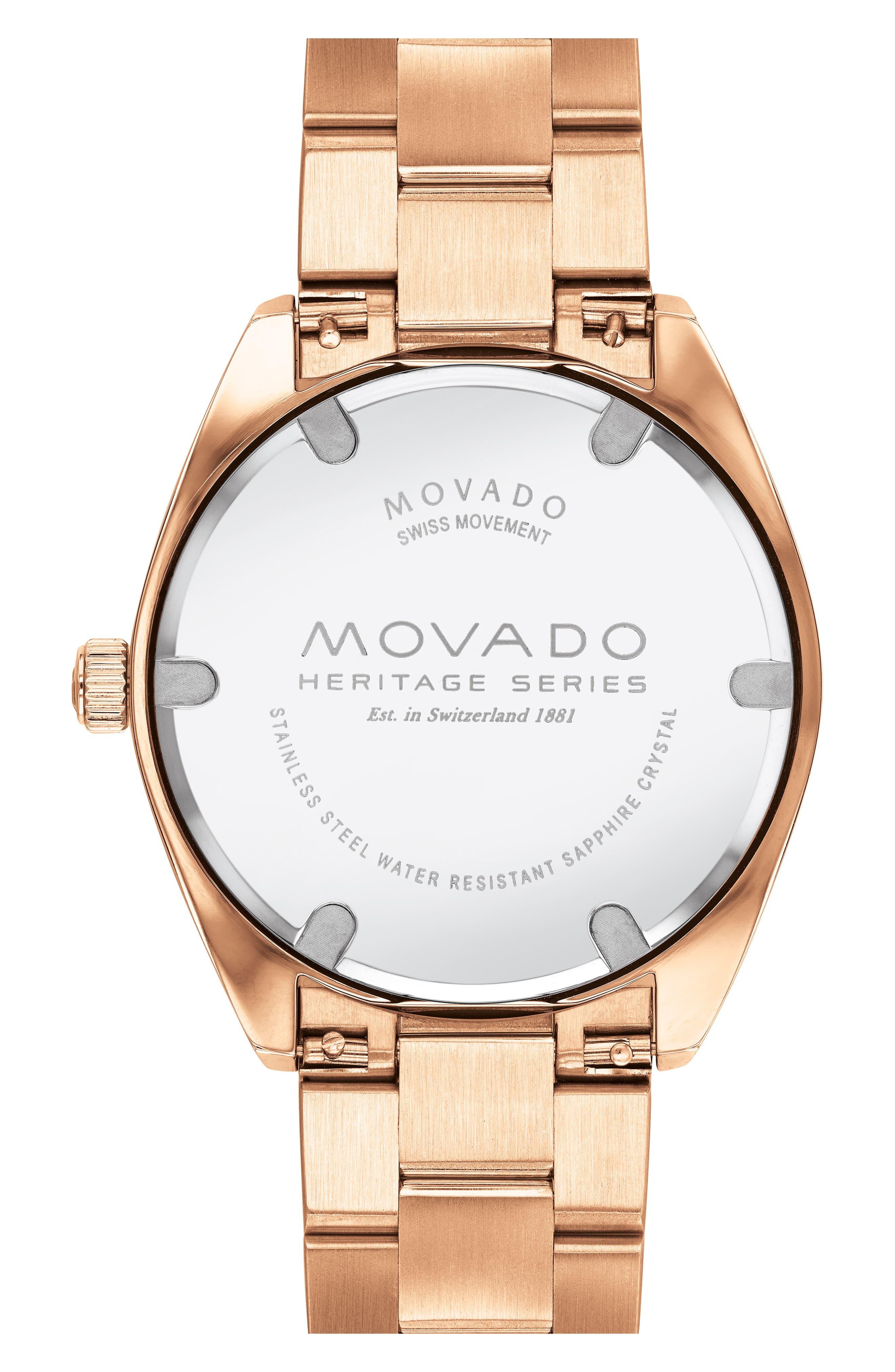 Heritage Bracelet Watch, 39mm,                             Alternate thumbnail 2, color,                             ROSE GOLD/ WHITE/ ROSE GOLD