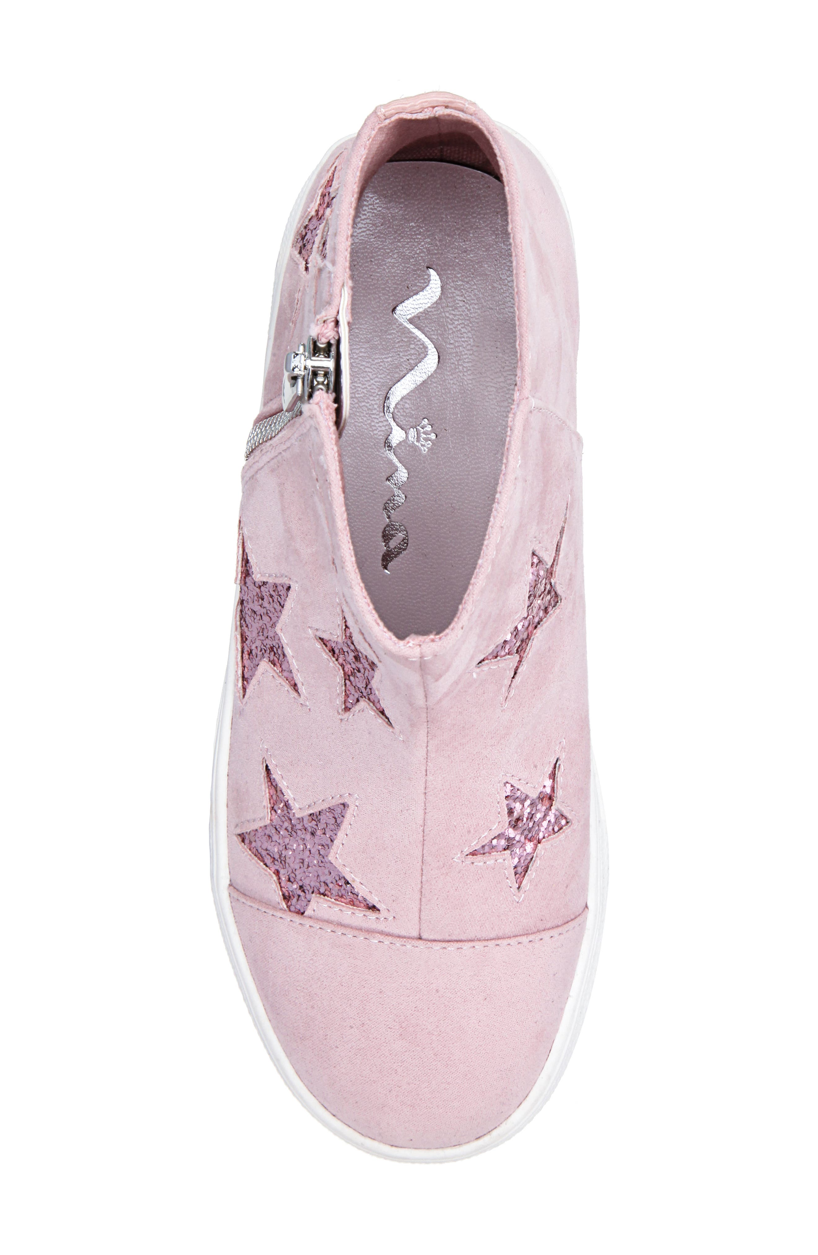 Jacqui Glitter High Top Sneaker,                             Alternate thumbnail 5, color,                             BLUSH MICRO SUEDE