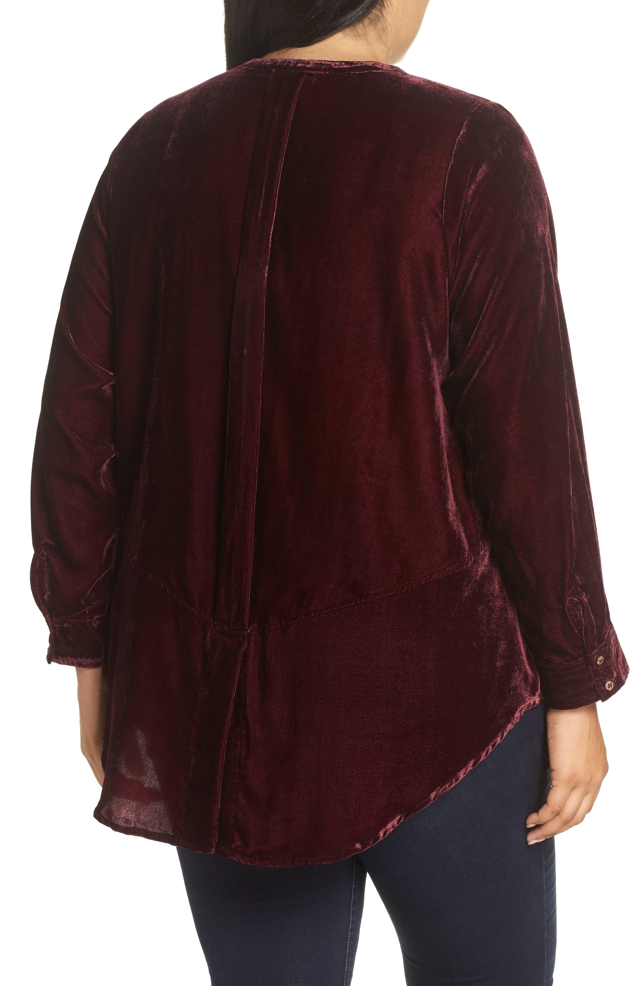 Velvet Shirt,                             Alternate thumbnail 2, color,                             RUBY WINE