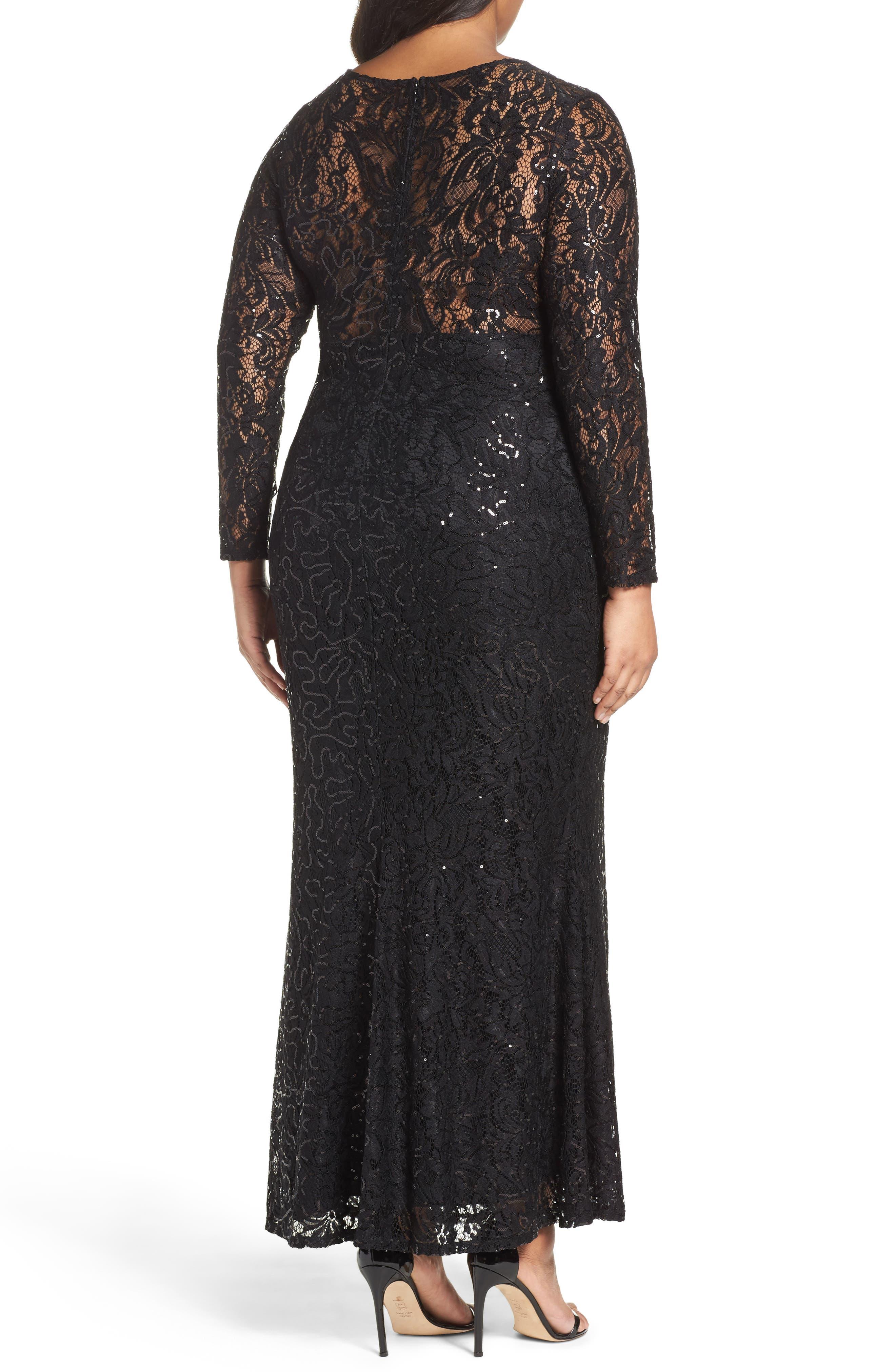 Sequin Lace Keyhole Gown,                             Alternate thumbnail 2, color,                             001