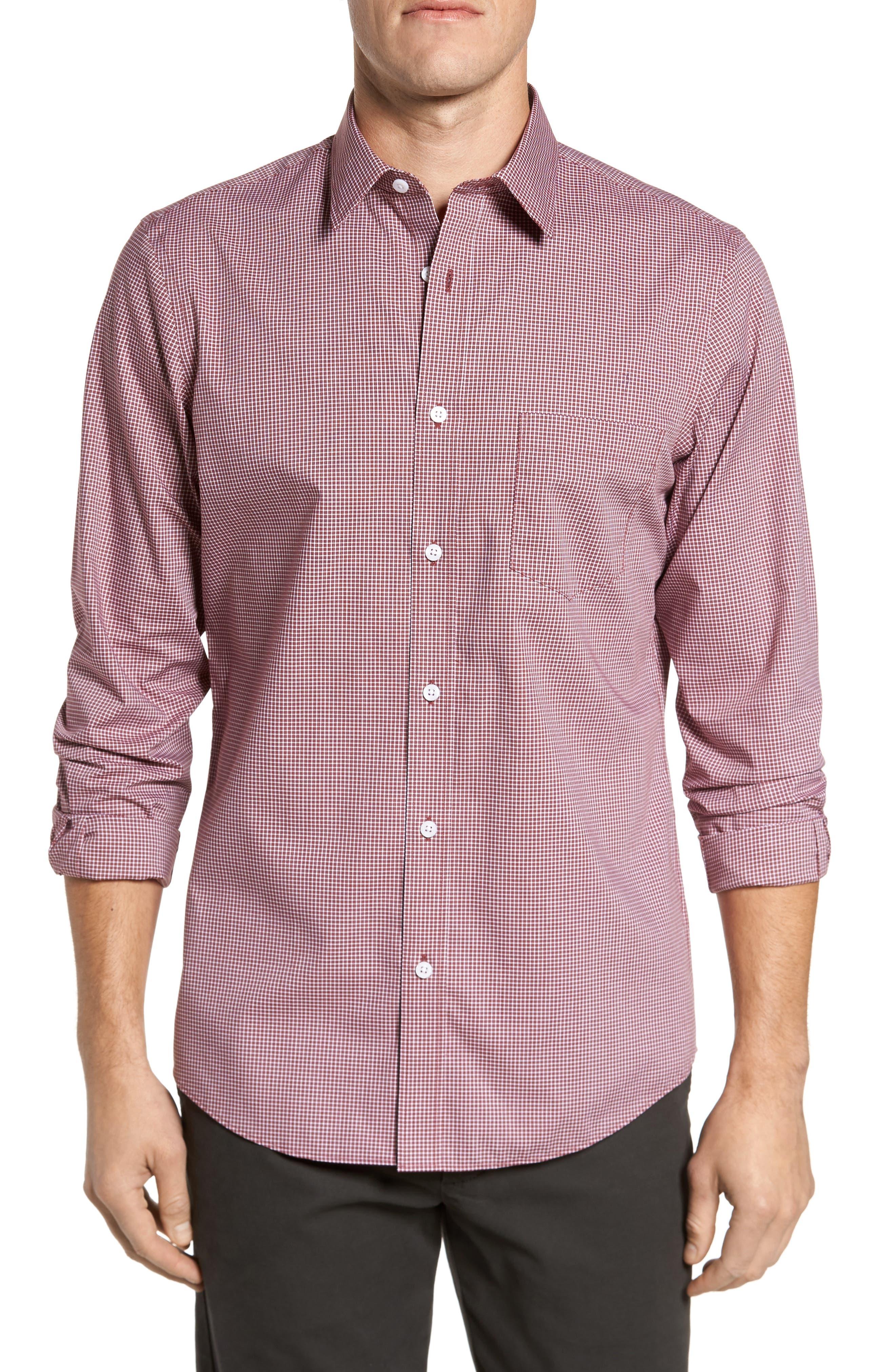 Non-Iron Microcheck Sport Shirt,                         Main,                         color, 610
