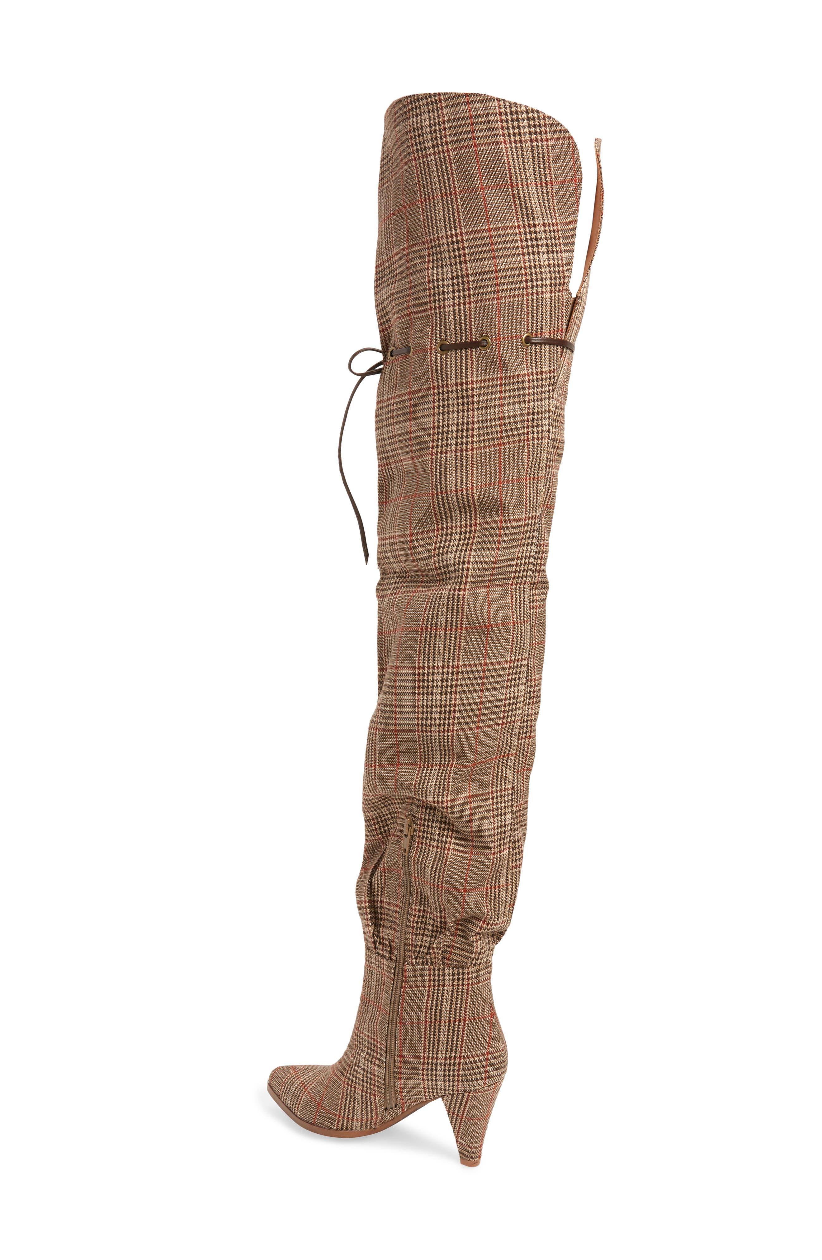 Go-Go-Girl Thigh High Boot,                             Alternate thumbnail 2, color,                             BEIGE PLAID