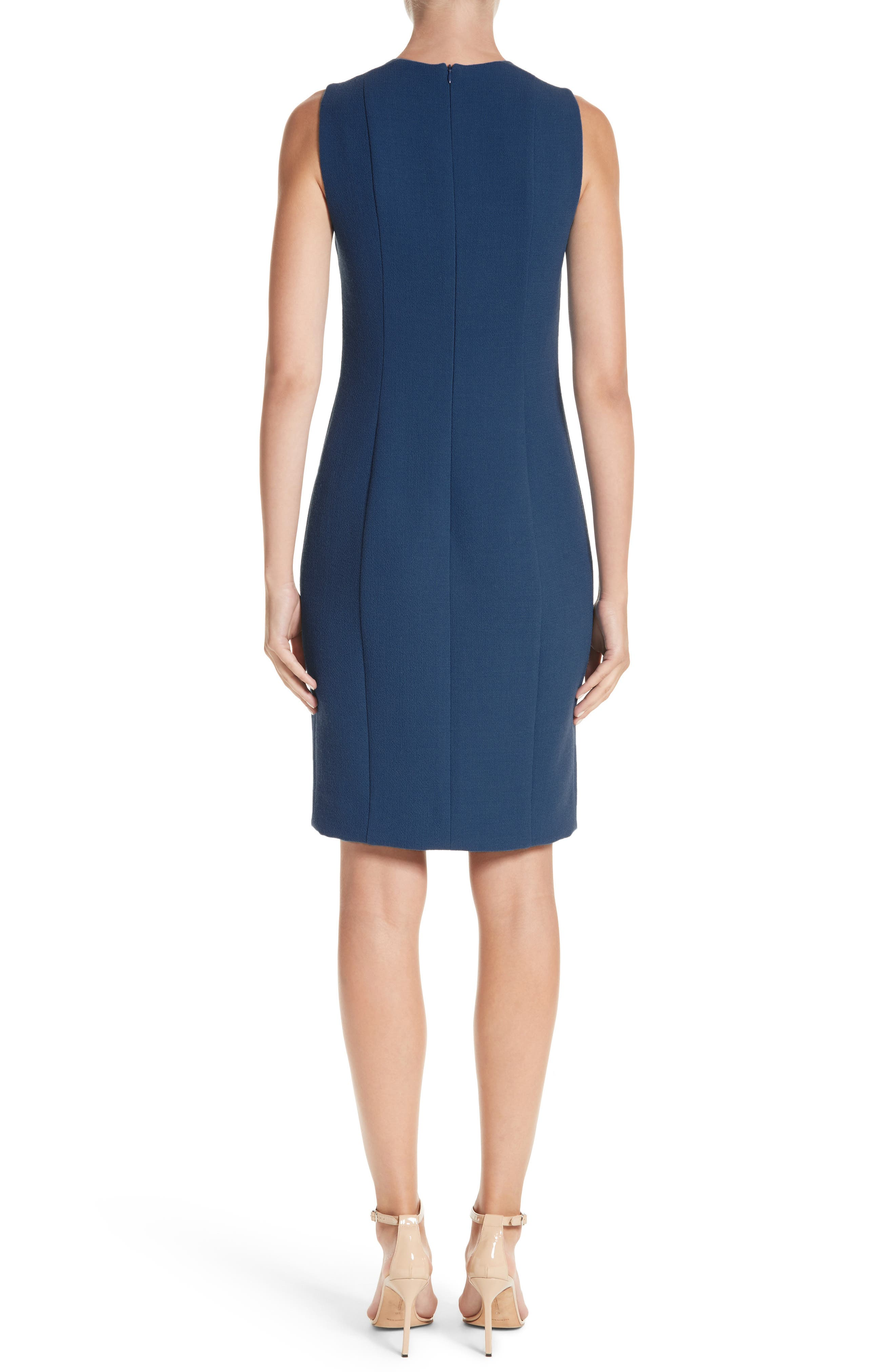 Double Face Wool Crepe Sheath Dress,                             Alternate thumbnail 2, color,                             478