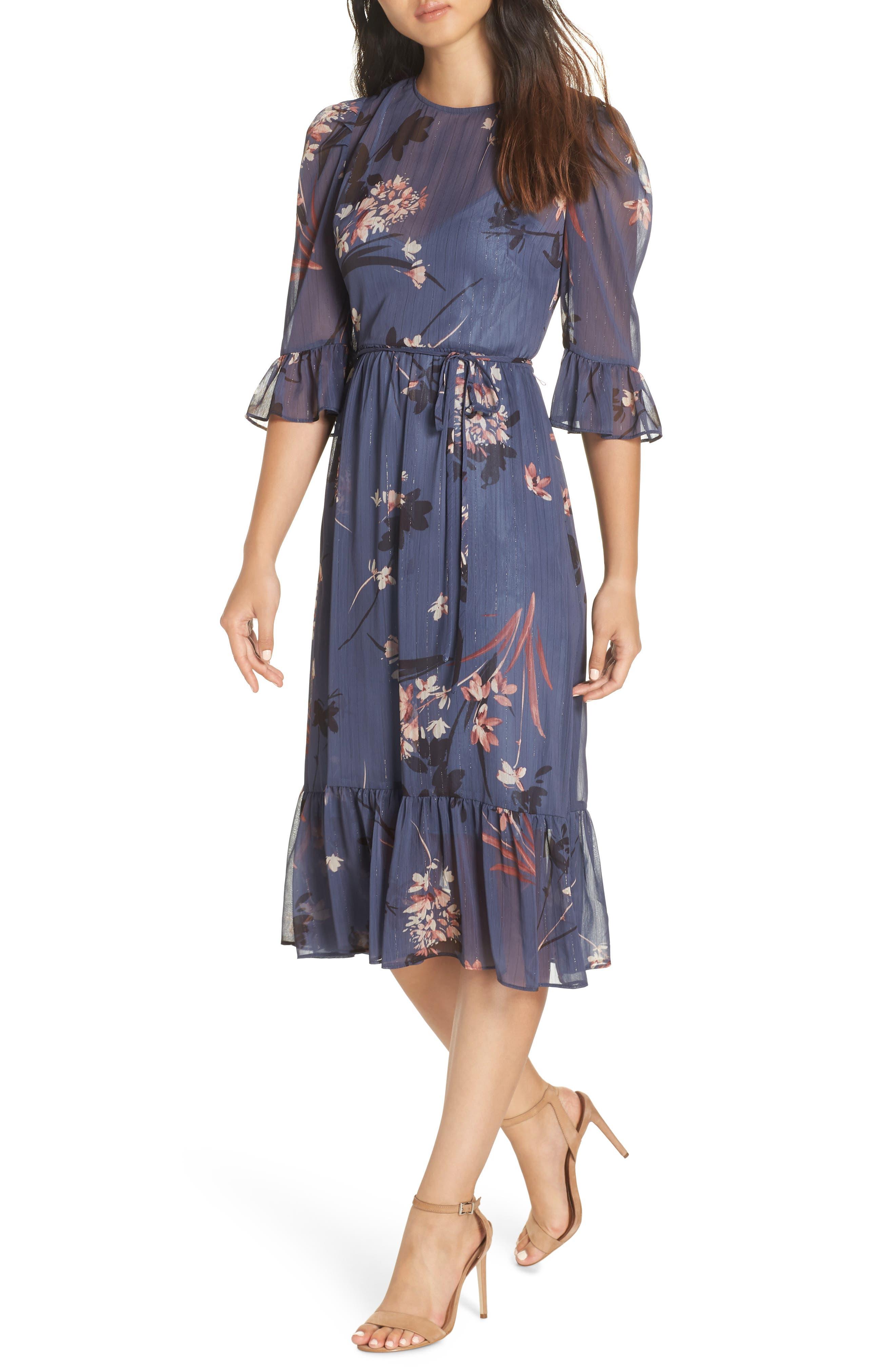 Floral Chiffon Midi Dress,                             Alternate thumbnail 6, color,                             BLUE MULTI