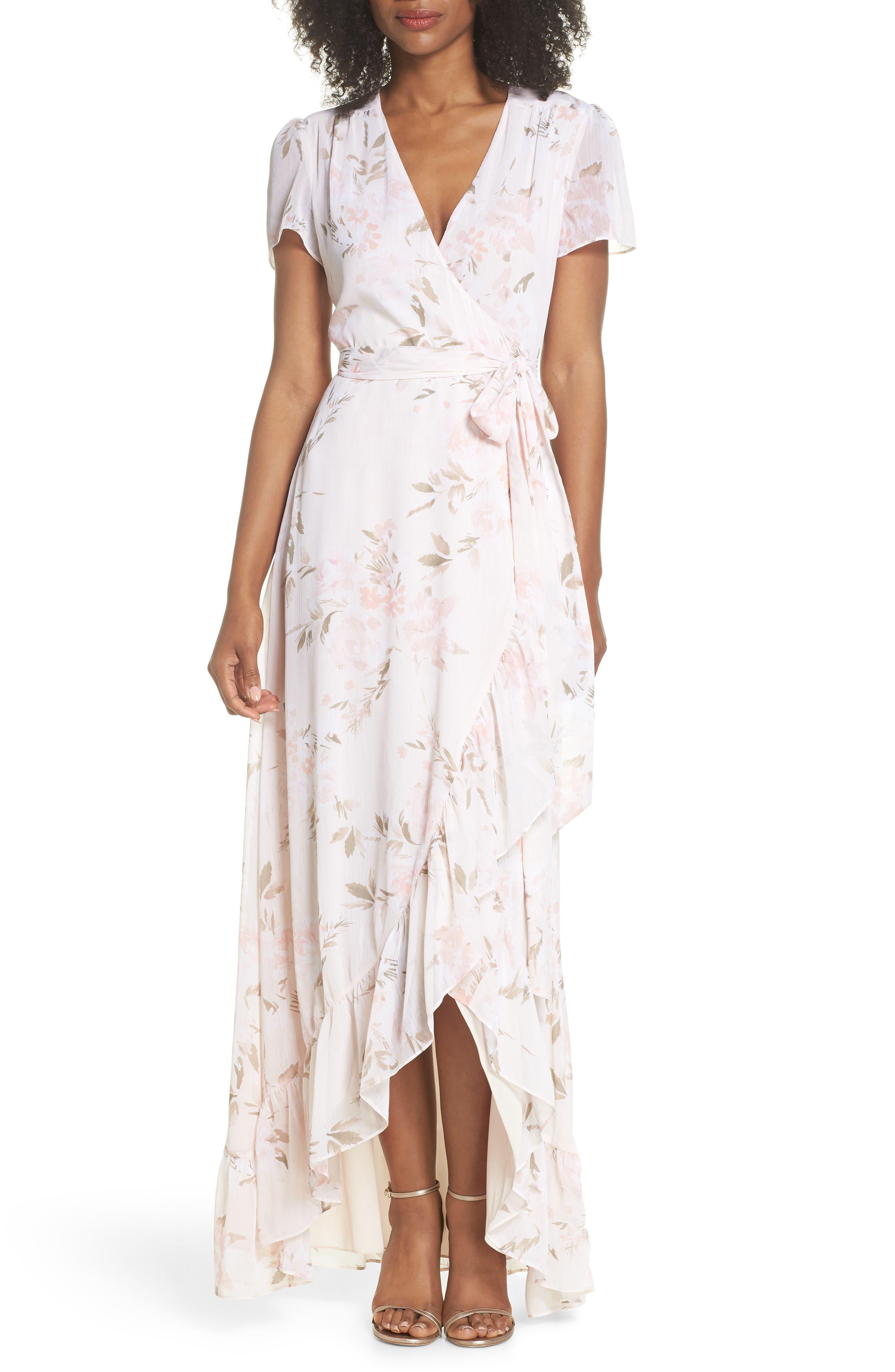 The Natasha Floral Wrap Maxi Dress,                             Main thumbnail 1, color,                             BLUSH BOUQUET PRINT